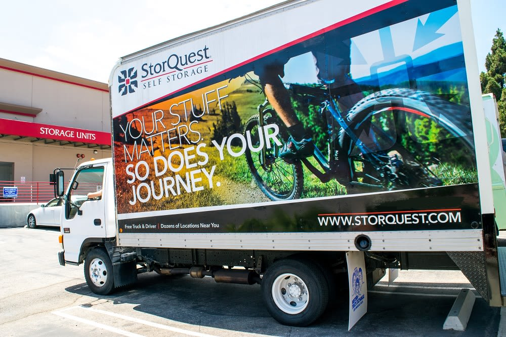 Moving truck with Storquest signage