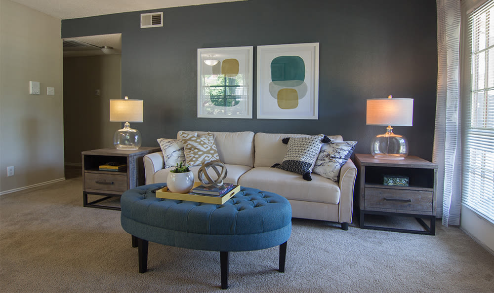 Cozy living room at Club at North Hills in Pittsburgh, Pennsylvania