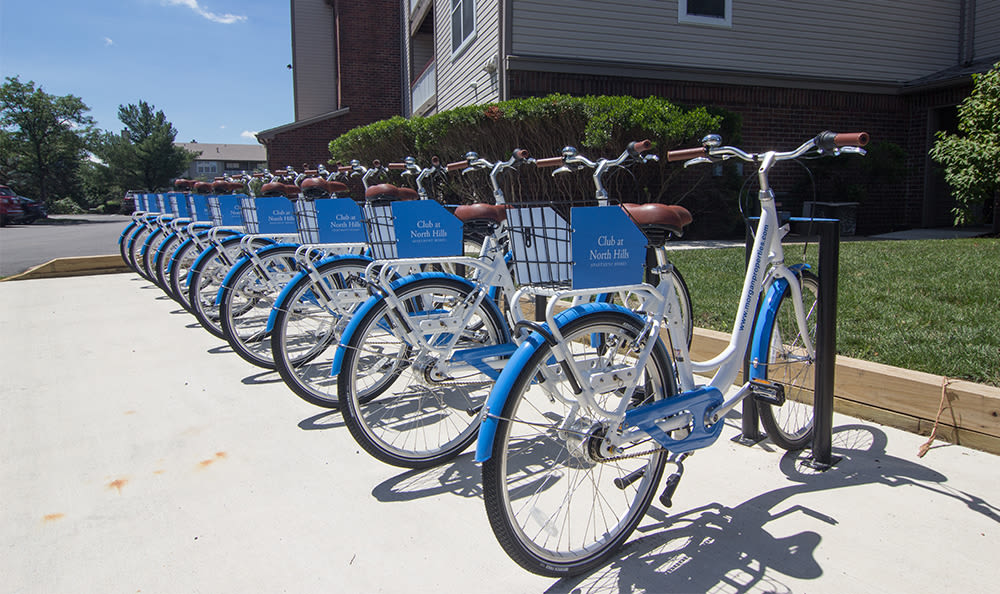 Bike share at Club at North Hills in Pittsburgh, Pennsylvania