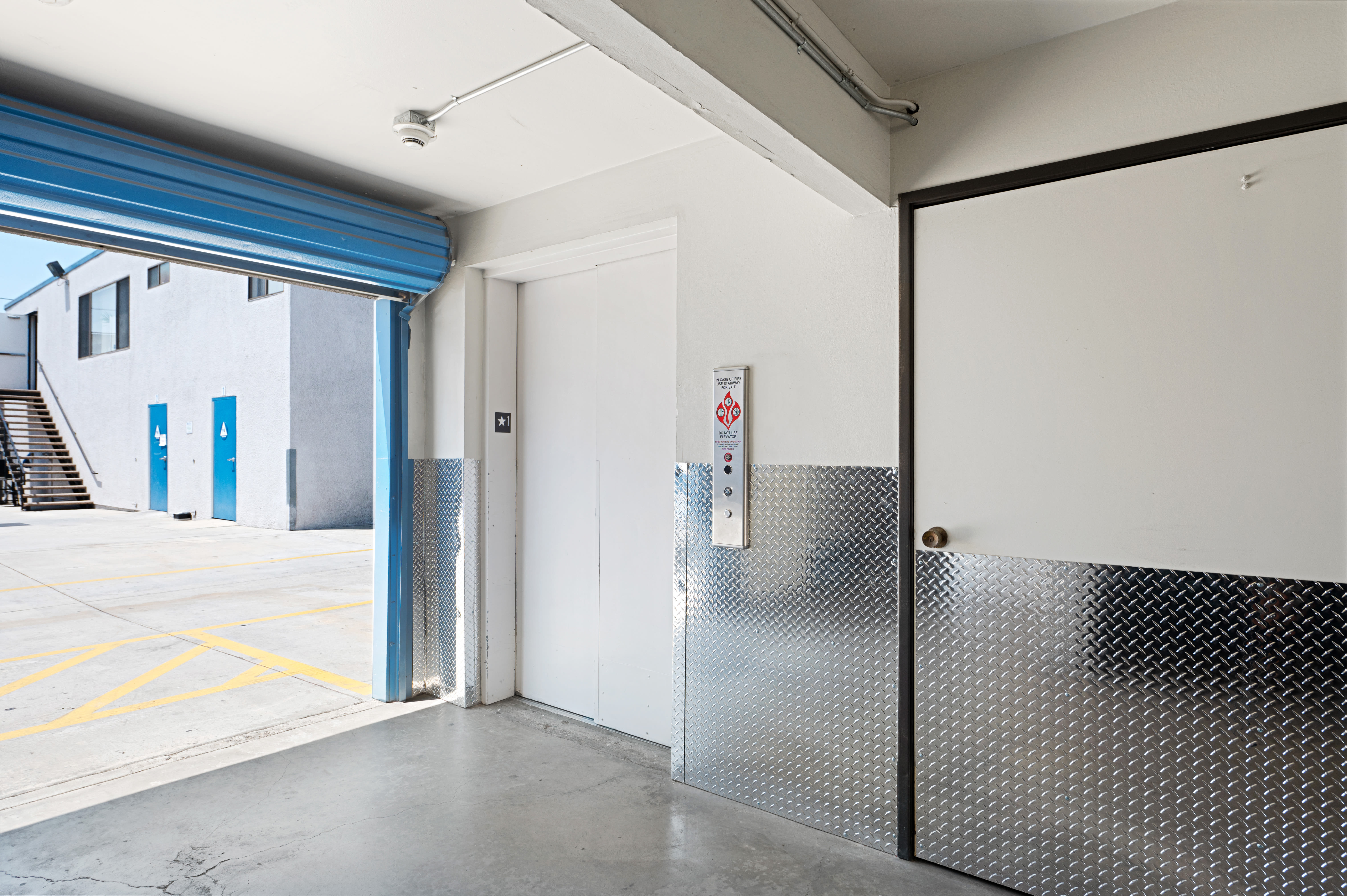 Freight elevator with access to outside at Huntington Park Self Storage