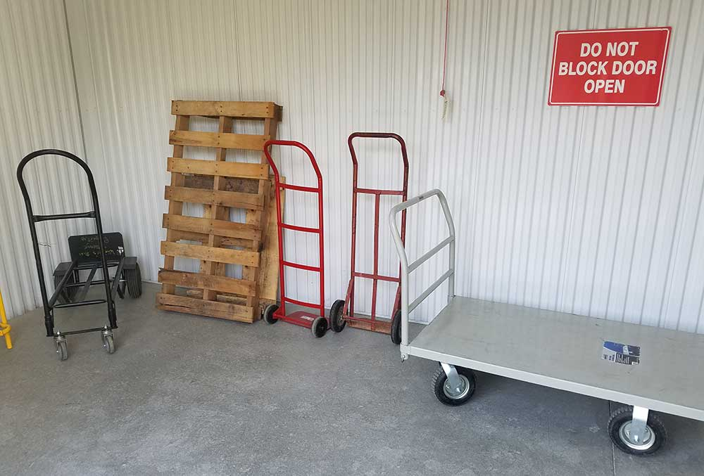 Dollies and carts are available for your use at Winter's Storage.