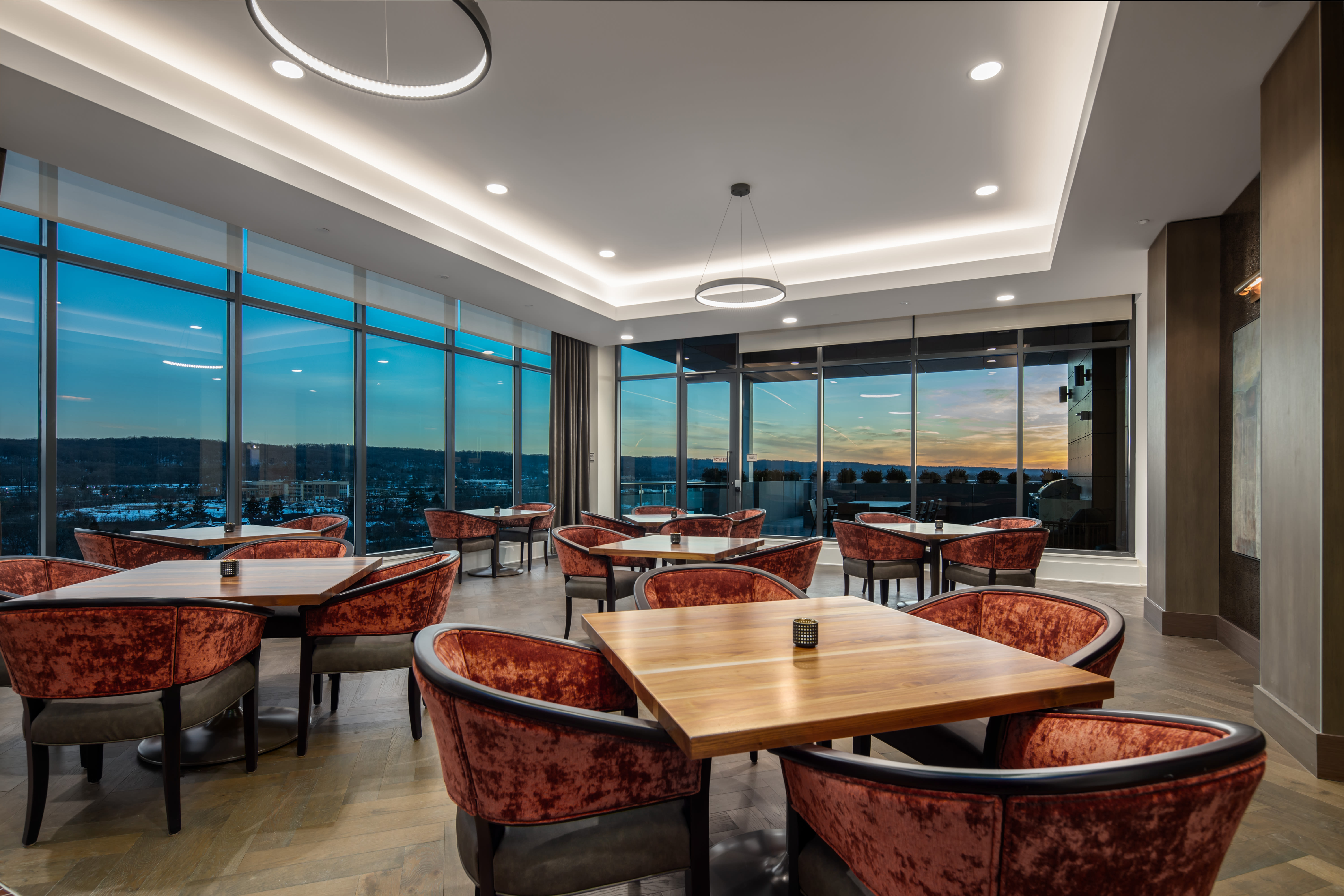Evening view of dining room at Anthology of King of Prussia – Now Open in King of Prussia, Pennsylvania