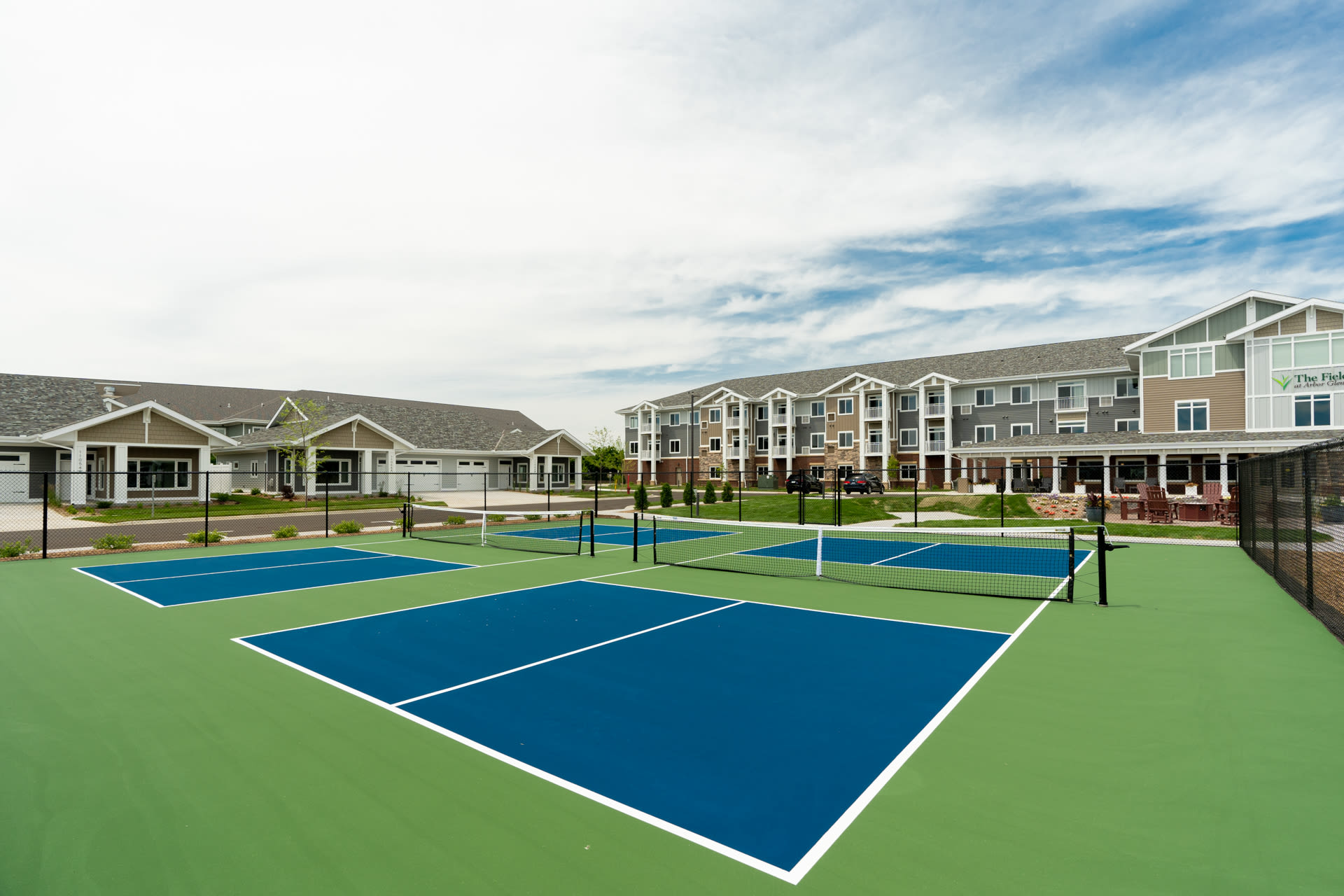 Close up of tennis courts at The Fields at Arbor Glen in Lake Elmo, Minnesota