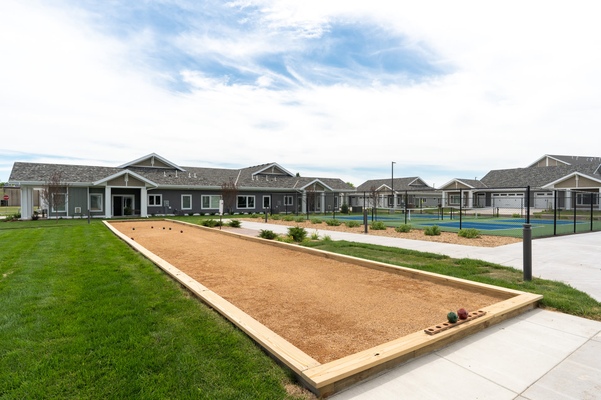 Pickle ball court and grass at The Fields at Arbor Glen in Lake Elmo, Minnesota