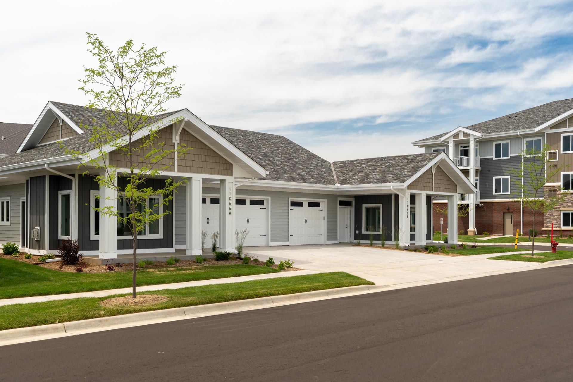 Exterior entrance of residence at The Fields at Arbor Glen in Lake Elmo, Minnesota