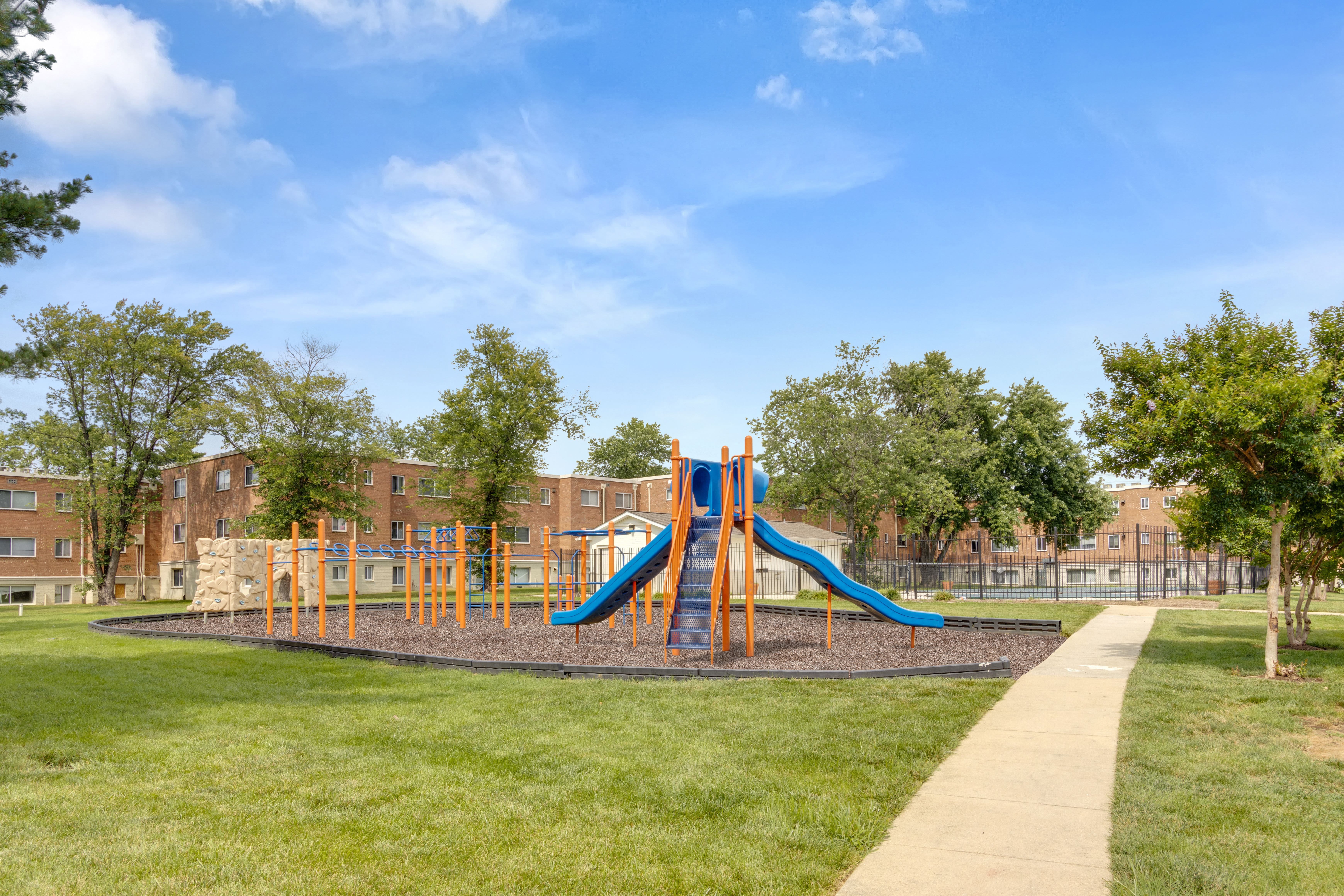 Playground and pathway at Regency Pointe in Forestville, Maryland