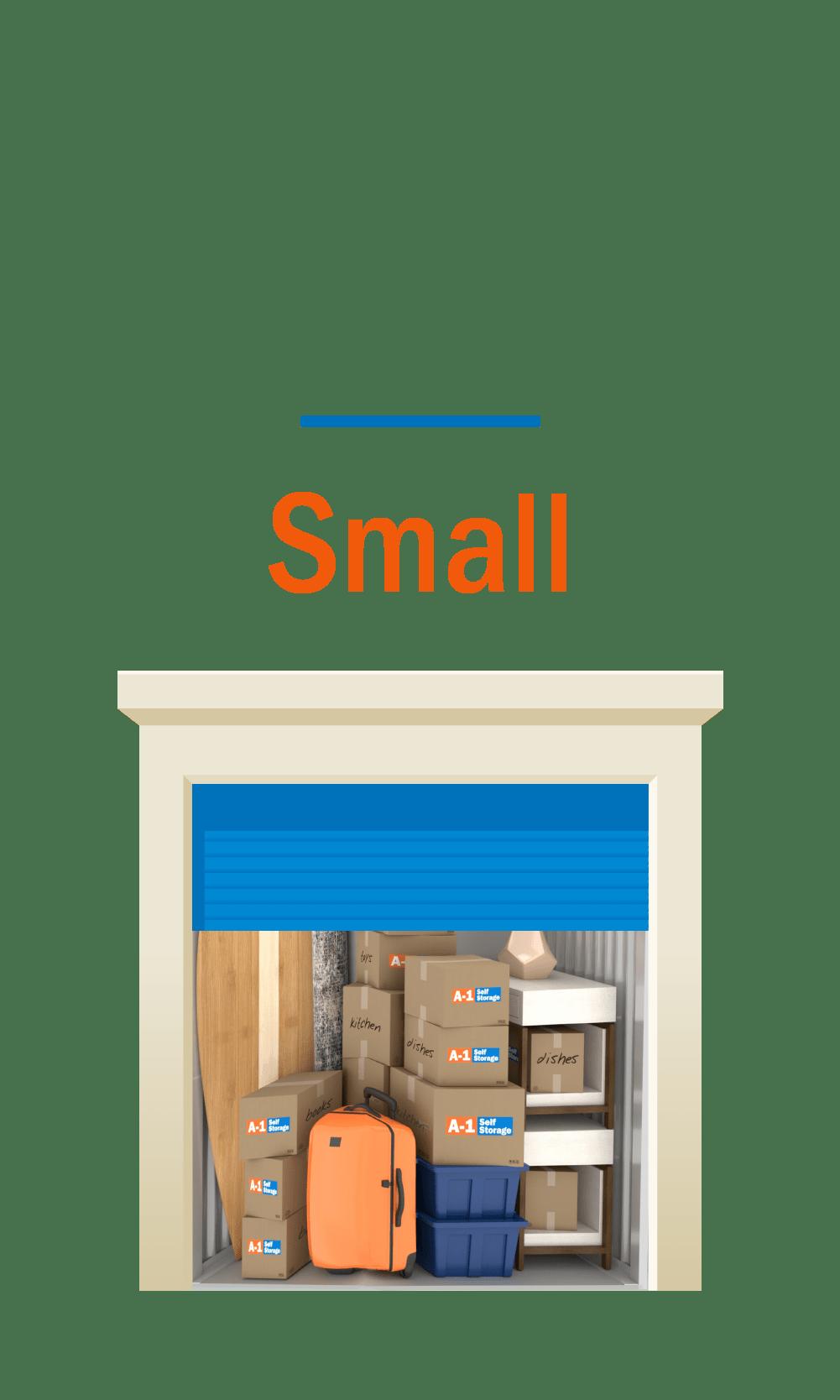 Small storage unit graphic, door open