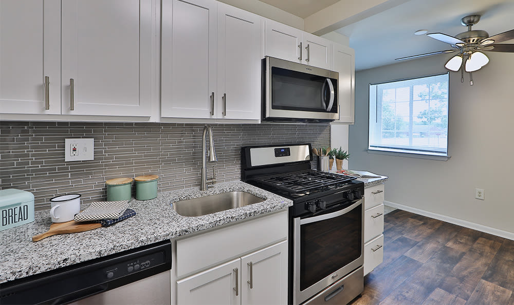 Fully-equipped kitchen at Glenbrook Manor home in Rochester, New York