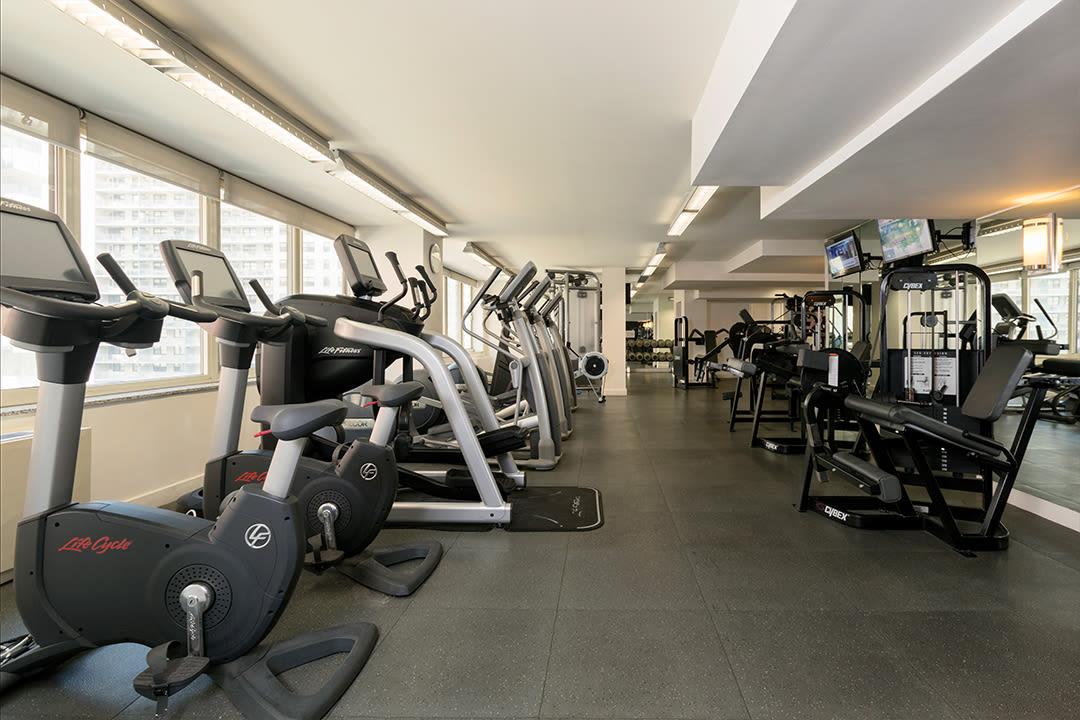 Full sized fitness center for residents at The Ventura in New York, New York