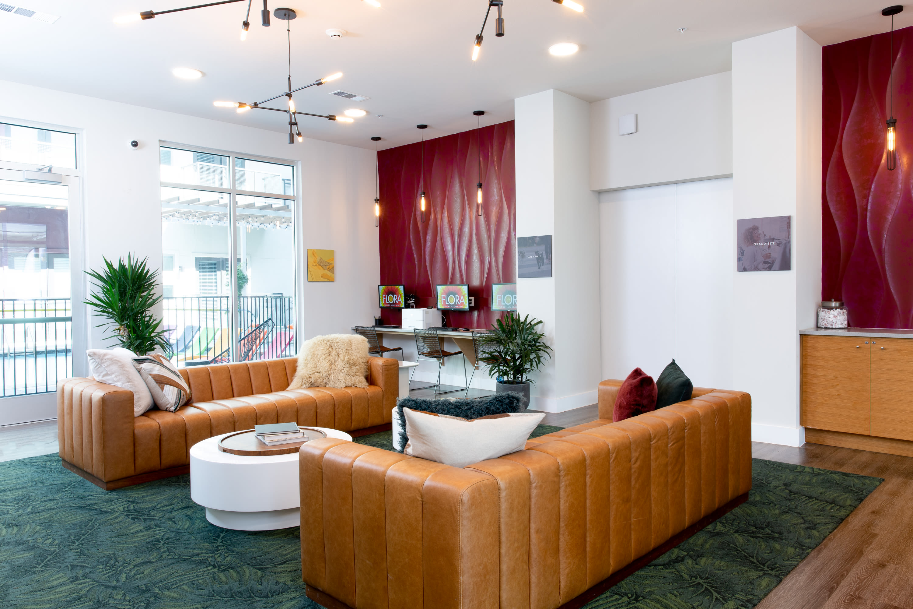 Resident lounge at Flora in Austin, Texas