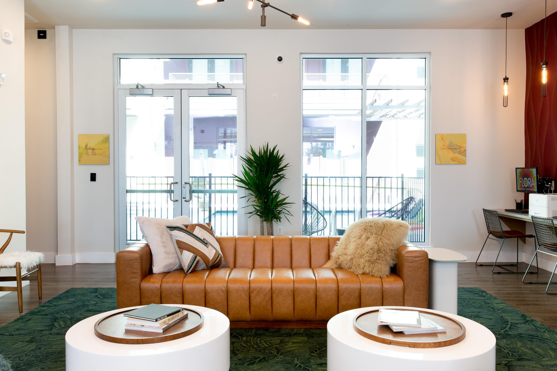 Lounge seating at Flora in Austin, Texas