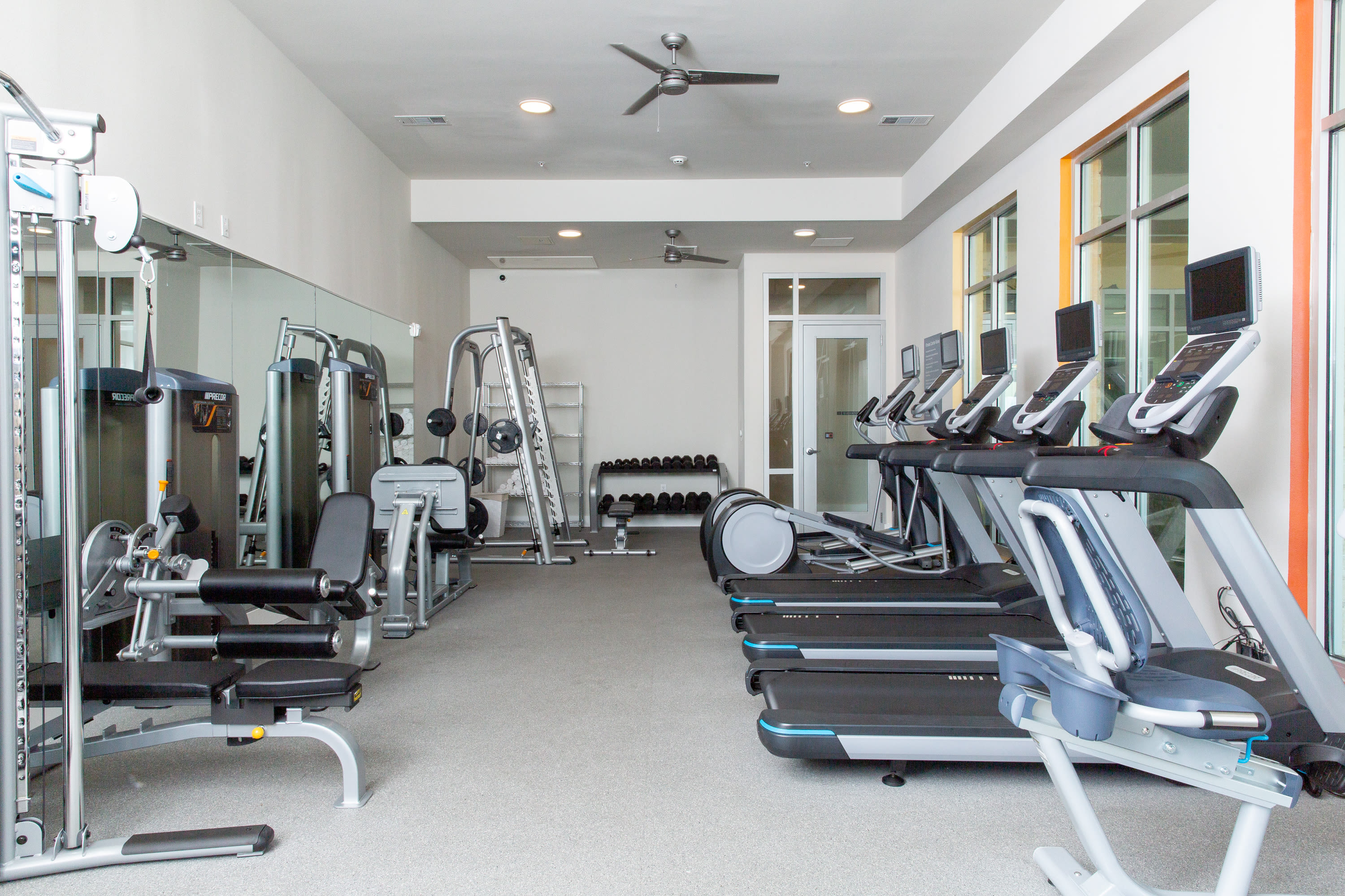 Fitness center at Flora in Austin, Texas