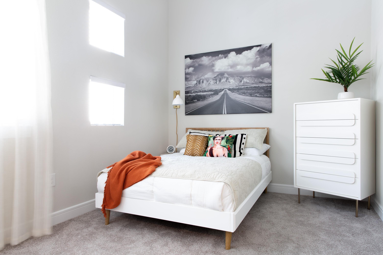 Model bedroom at Flora in Austin, Texas