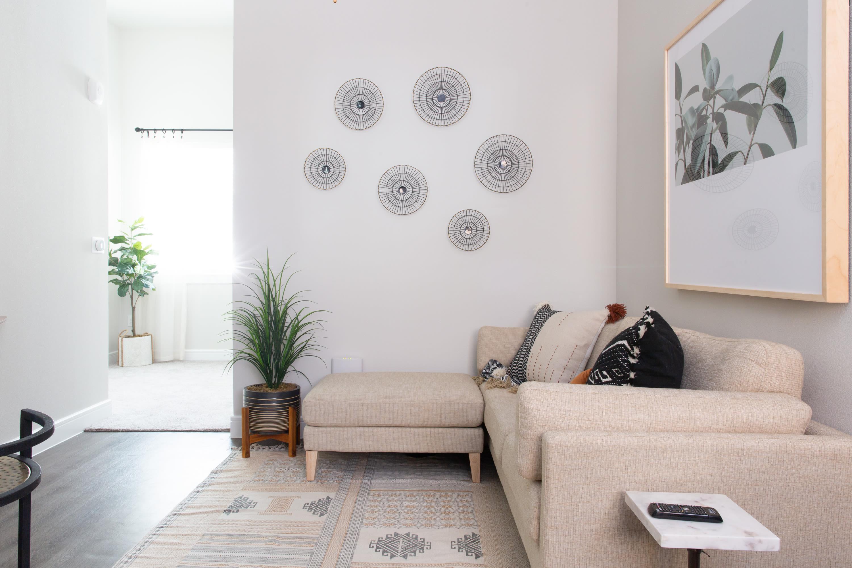 Model living room at Flora in Austin, Texas