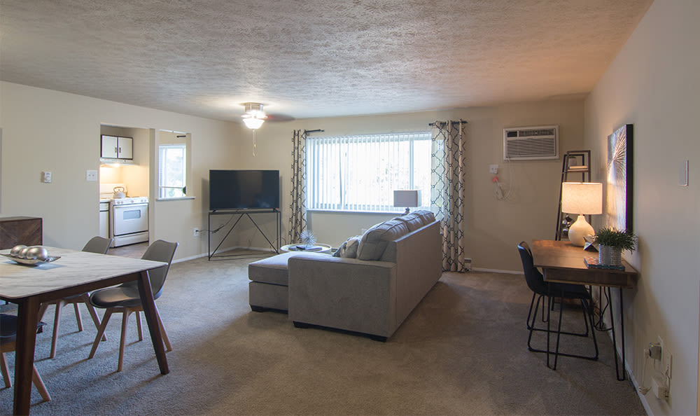 Spacious living room at Park Place of South Park in South Park, Pennsylvania