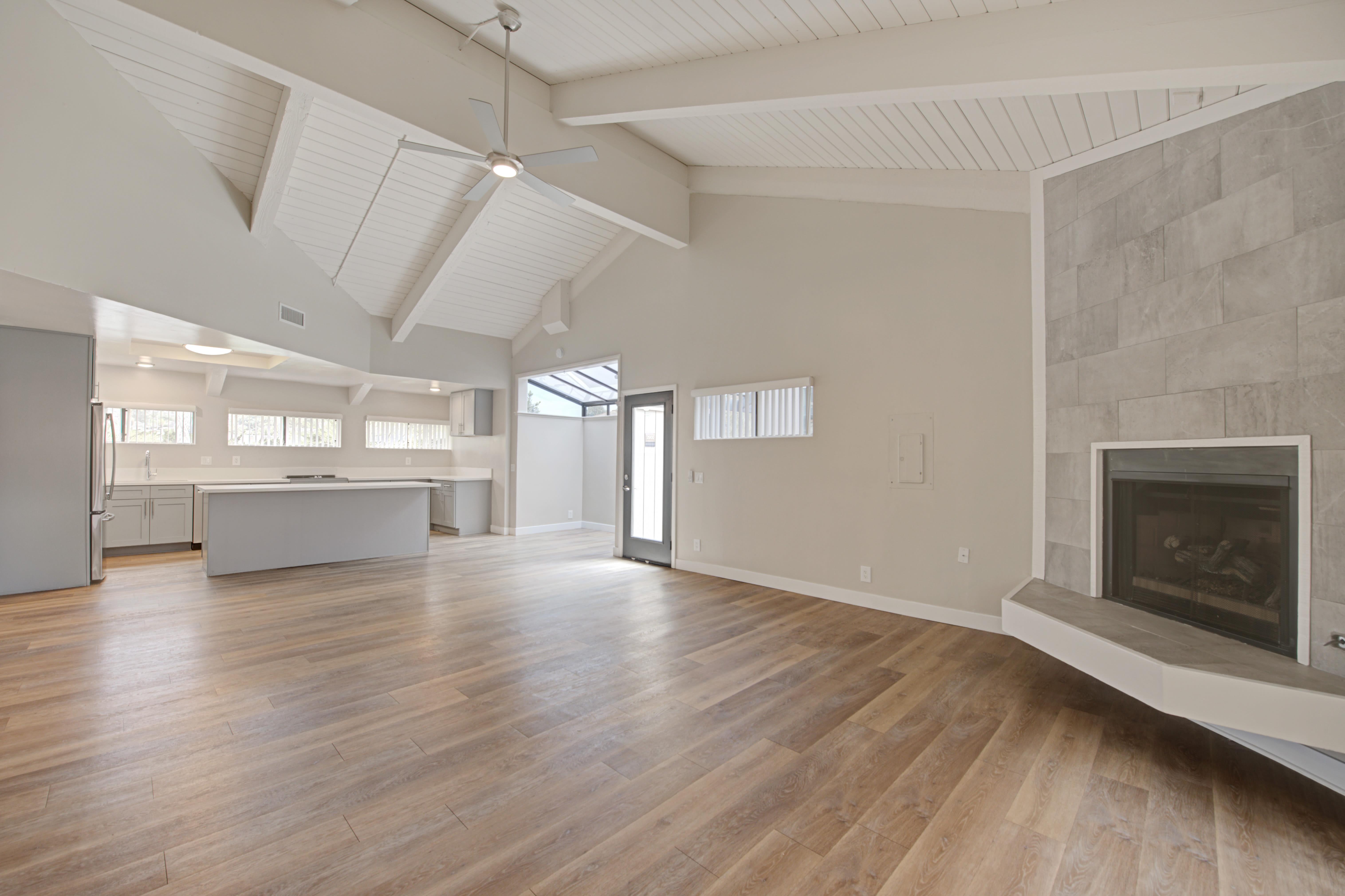 Open floor plan with fireplace at Sofi Ventura in Ventura, California