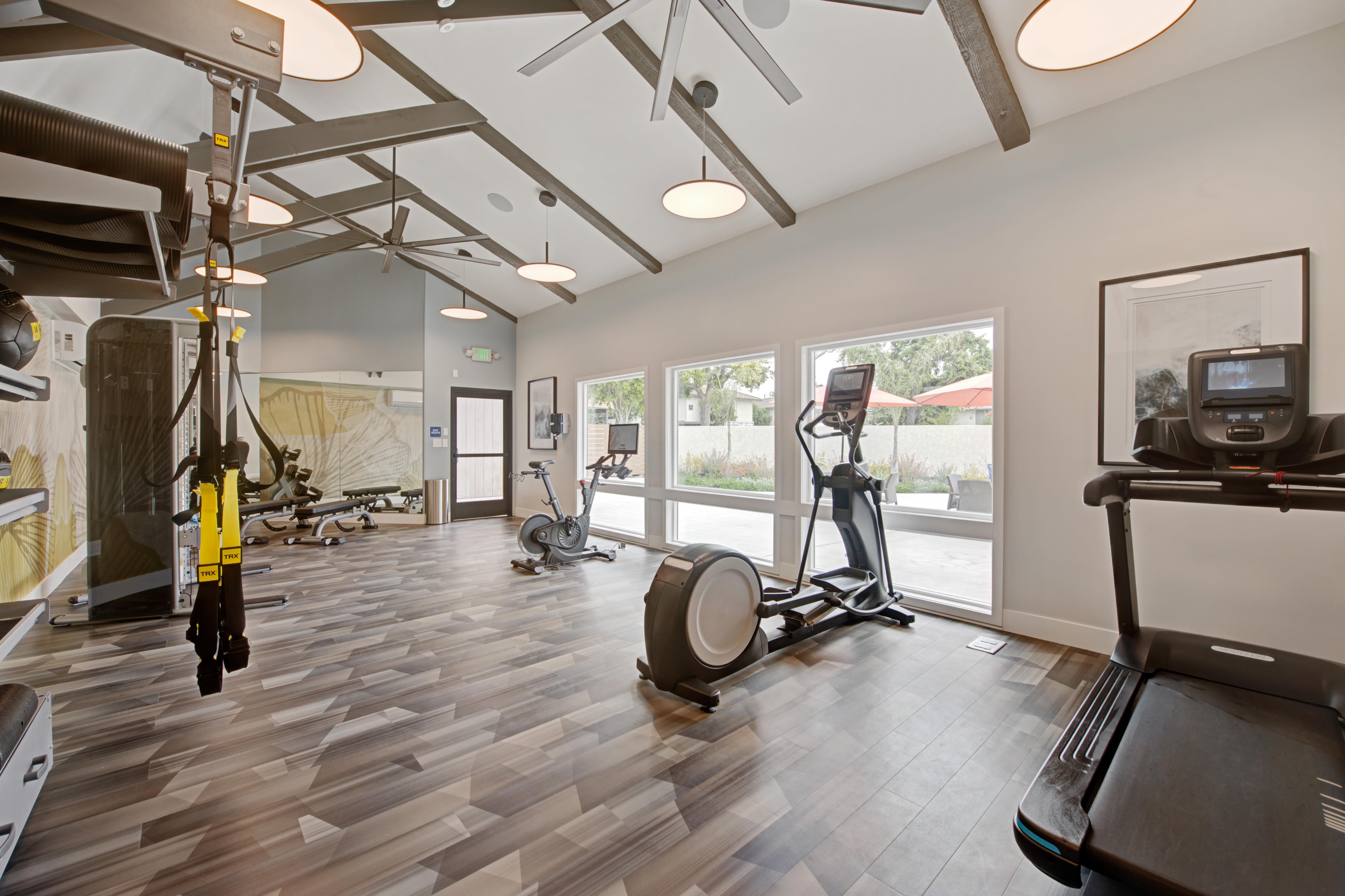Fitness center with cycle equipment at Sofi Ventura in Ventura, California