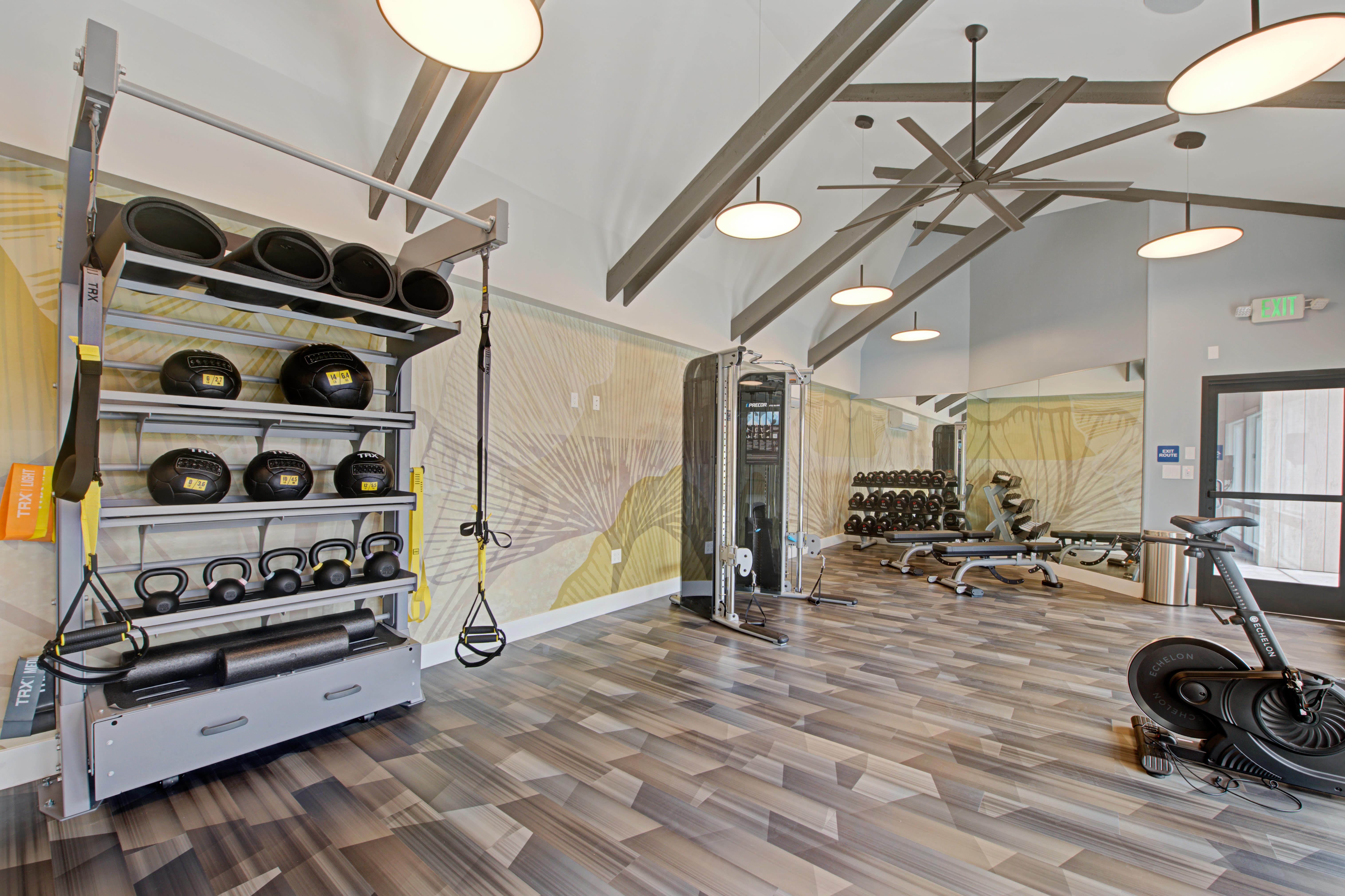 Fitness center and weights at Sofi Ventura in Ventura, California
