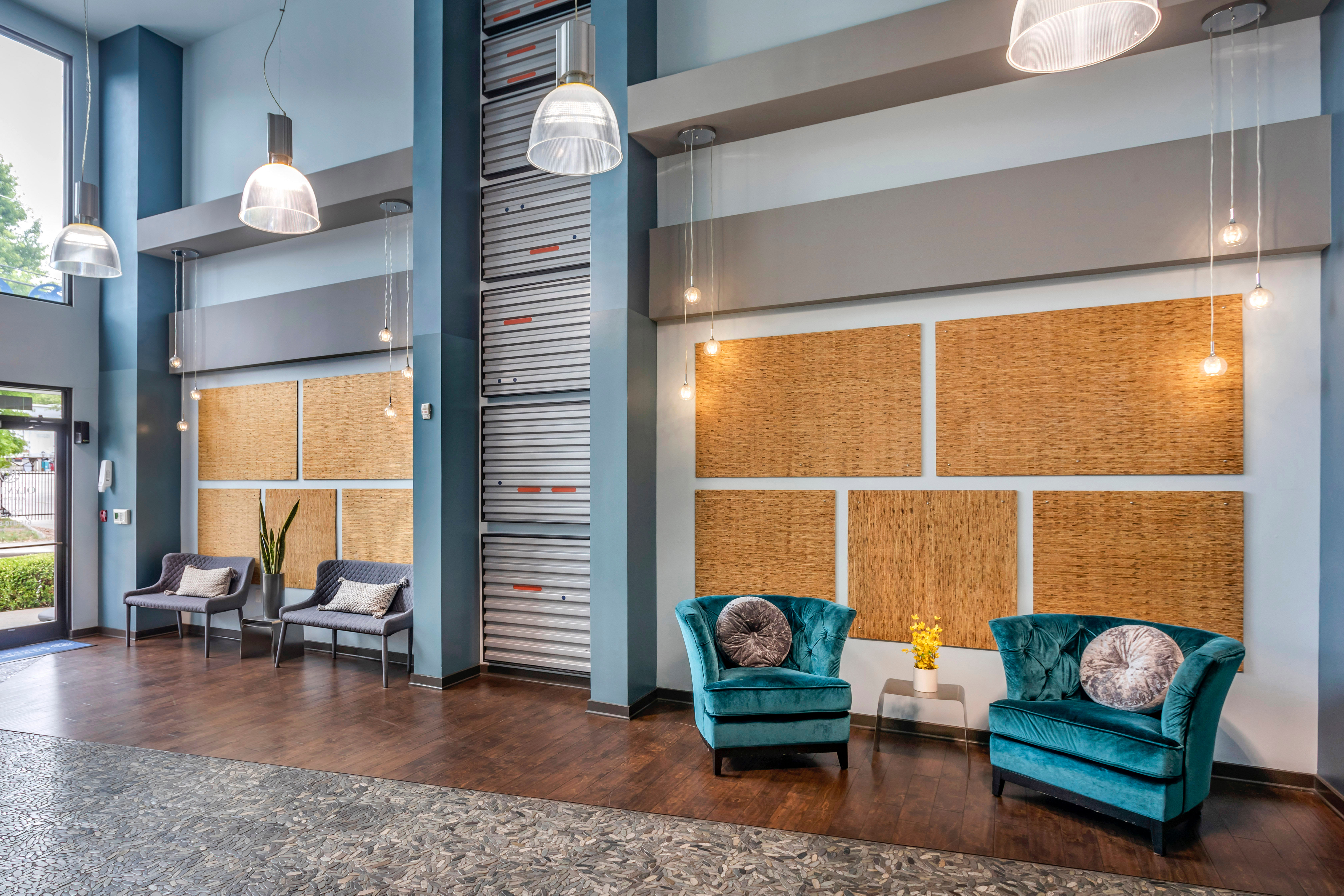 Comfortable places to sit in the lobby at Olympus Midtown in Nashville, Tennessee