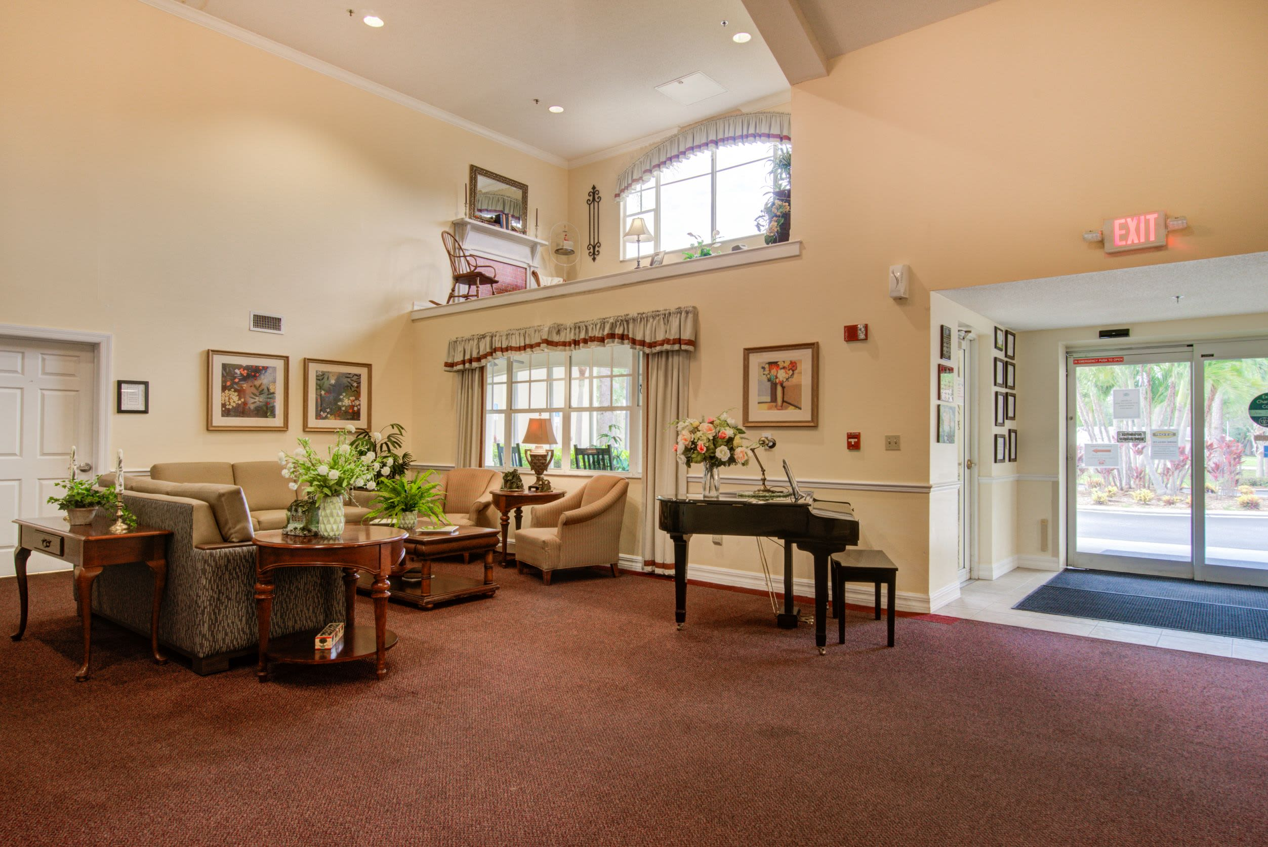 Entrance with piano at Truewood by Merrill, Charlotte Center in Port Charlotte, Florida.