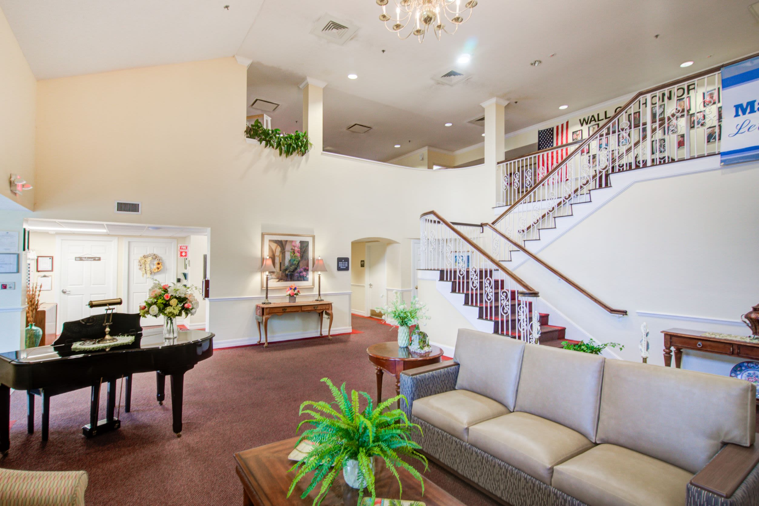 The lobby area at Truewood by Merrill, Charlotte Center in Port Charlotte, Florida.