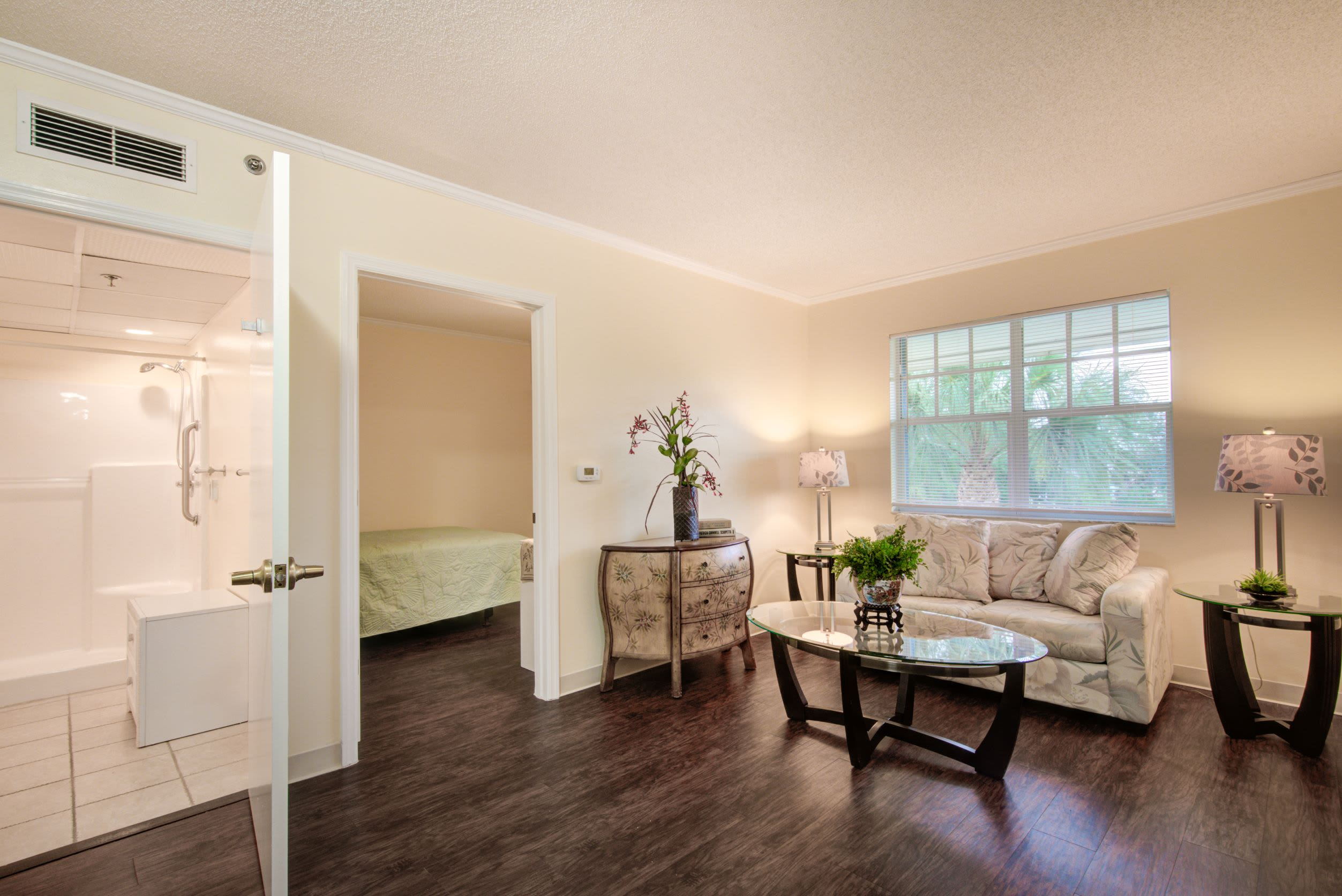 Living room at Truewood by Merrill, Charlotte Center in Port Charlotte, Florida