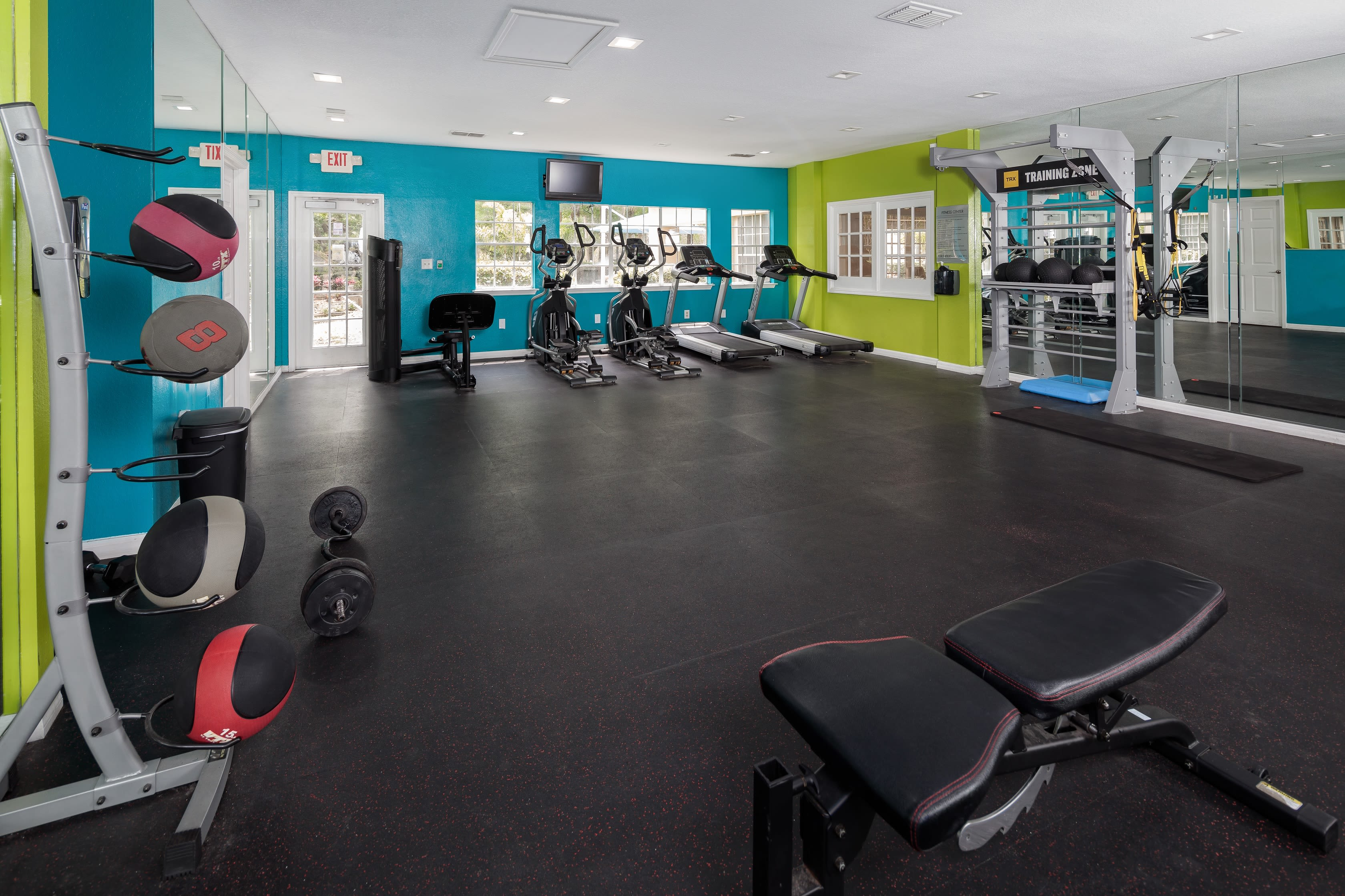 Fitness center at 1801 MetroWest in Orlando, Florida