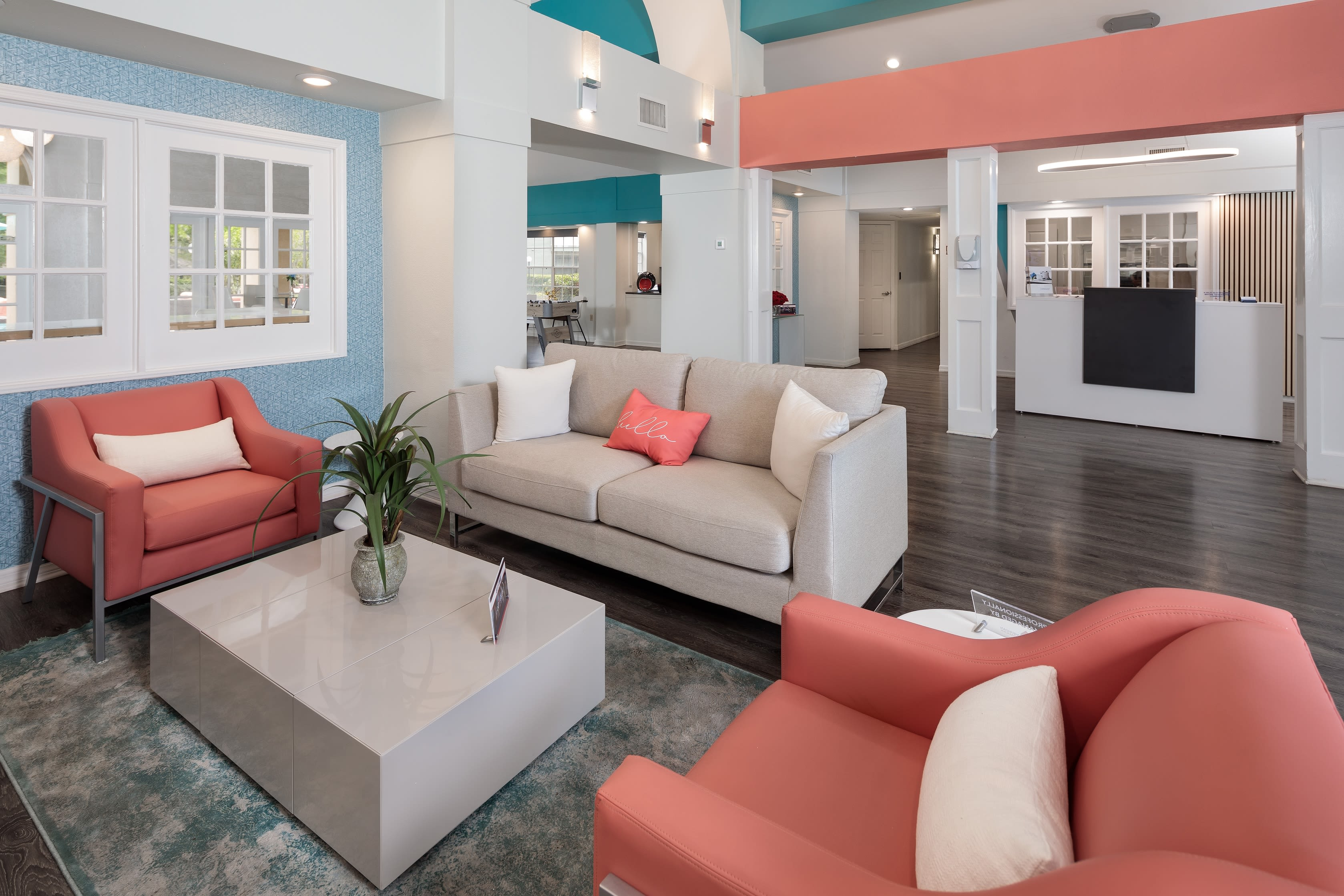 A seating area in the clubhouse at 1801 MetroWest in Orlando, Florida