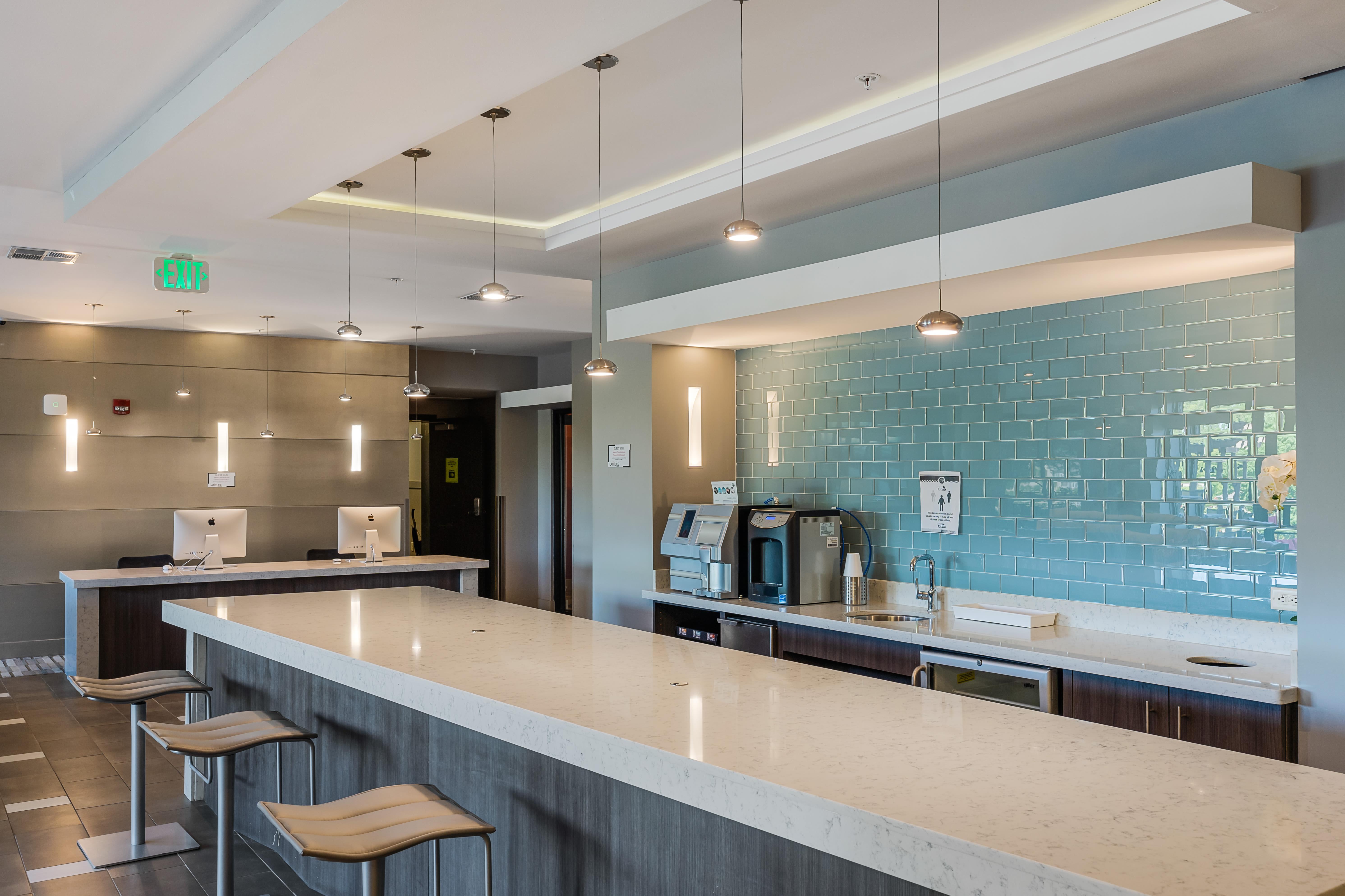 Community kitchen at Latitude at Deerfield Crossing in Mason, Ohio