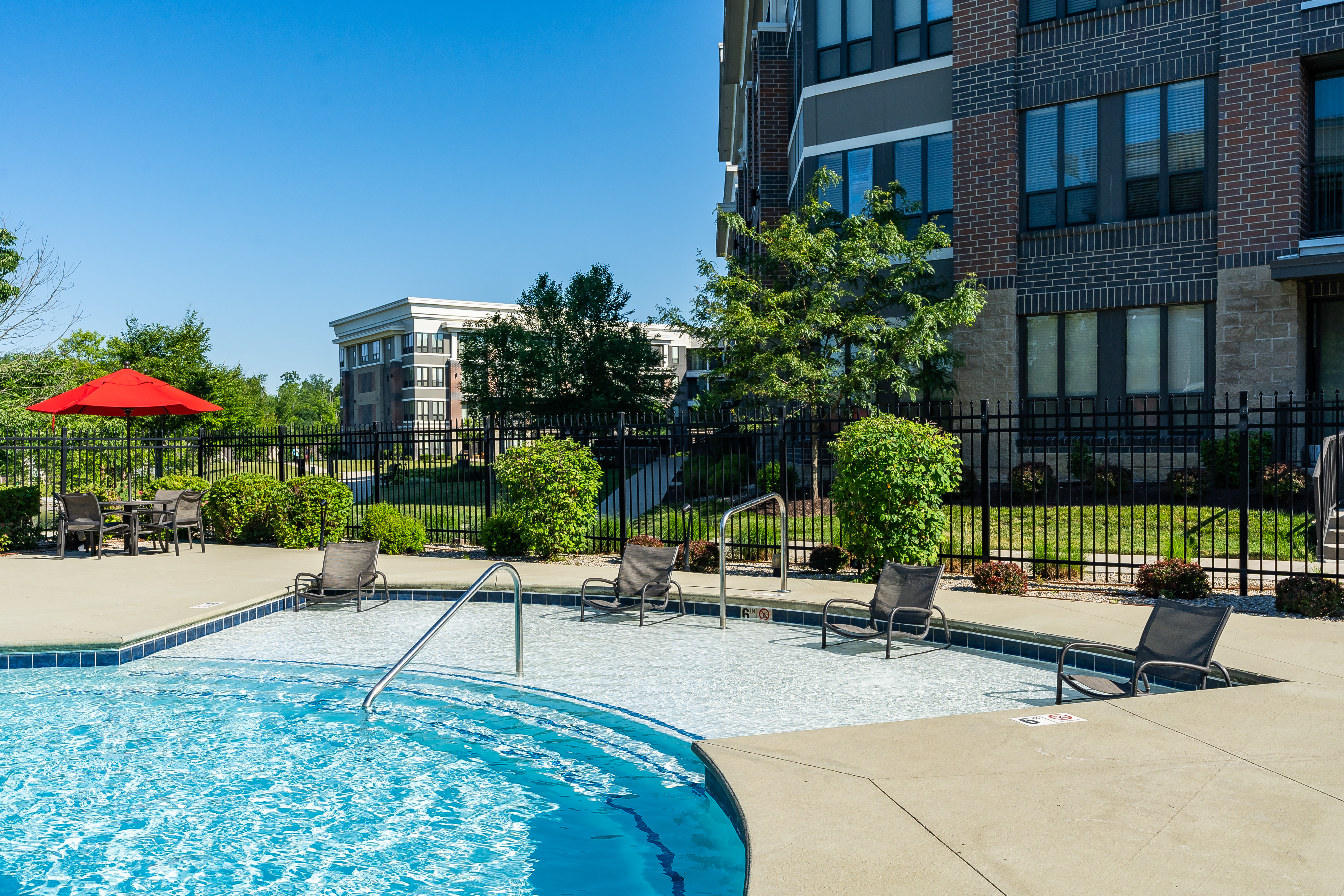 Sparkling pool at Latitude at Deerfield Crossing in Mason, Ohio