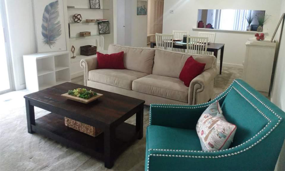 Living room at Emerald Springs Apartments in Painted Post, New York