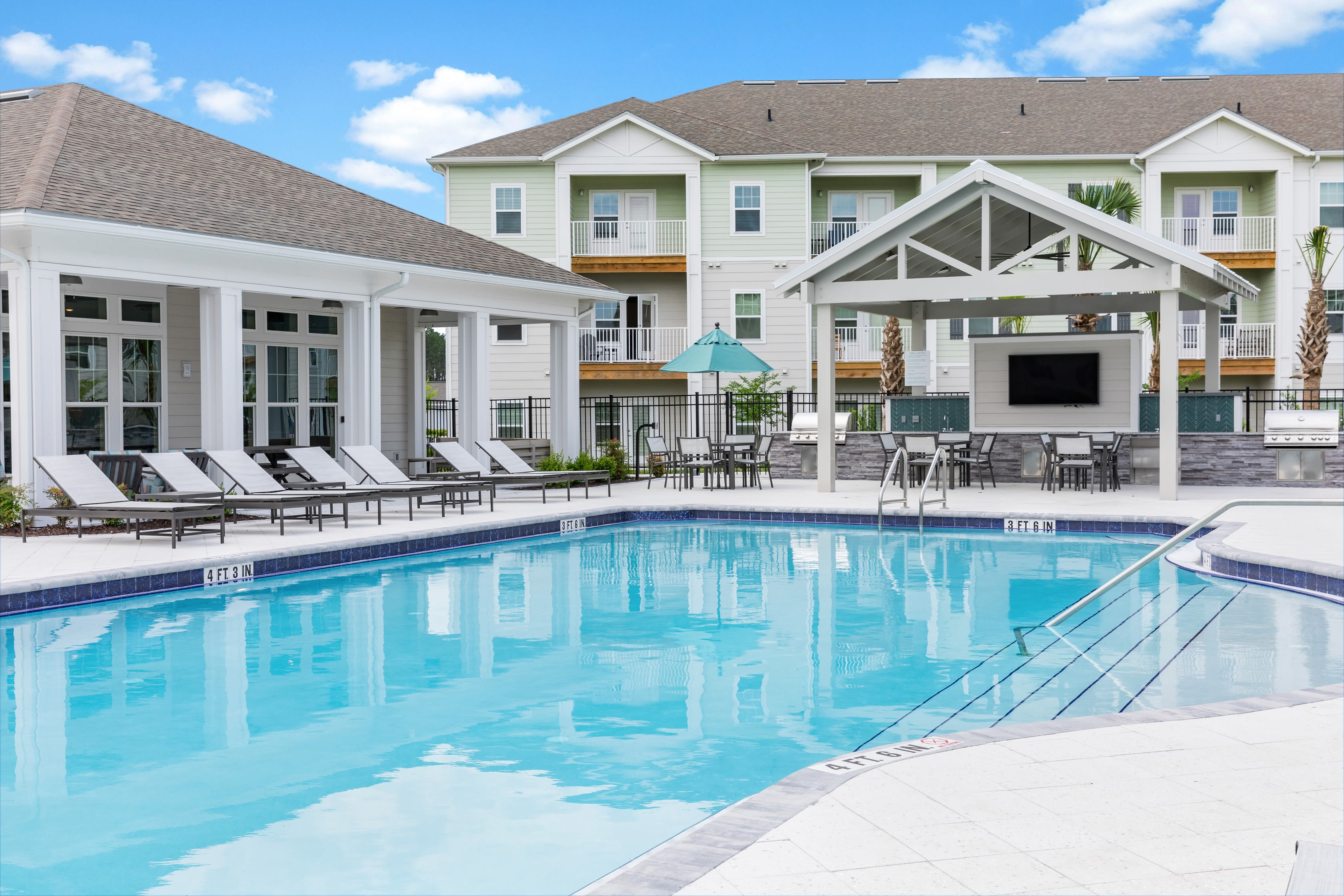 Large swimming pool at Argyle at Oakleaf Town Center in Jacksonville, Florida