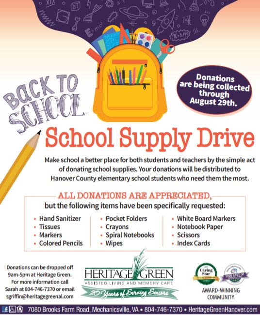 School Supply Drive at Heritage Green Assisted Living and Memory Care