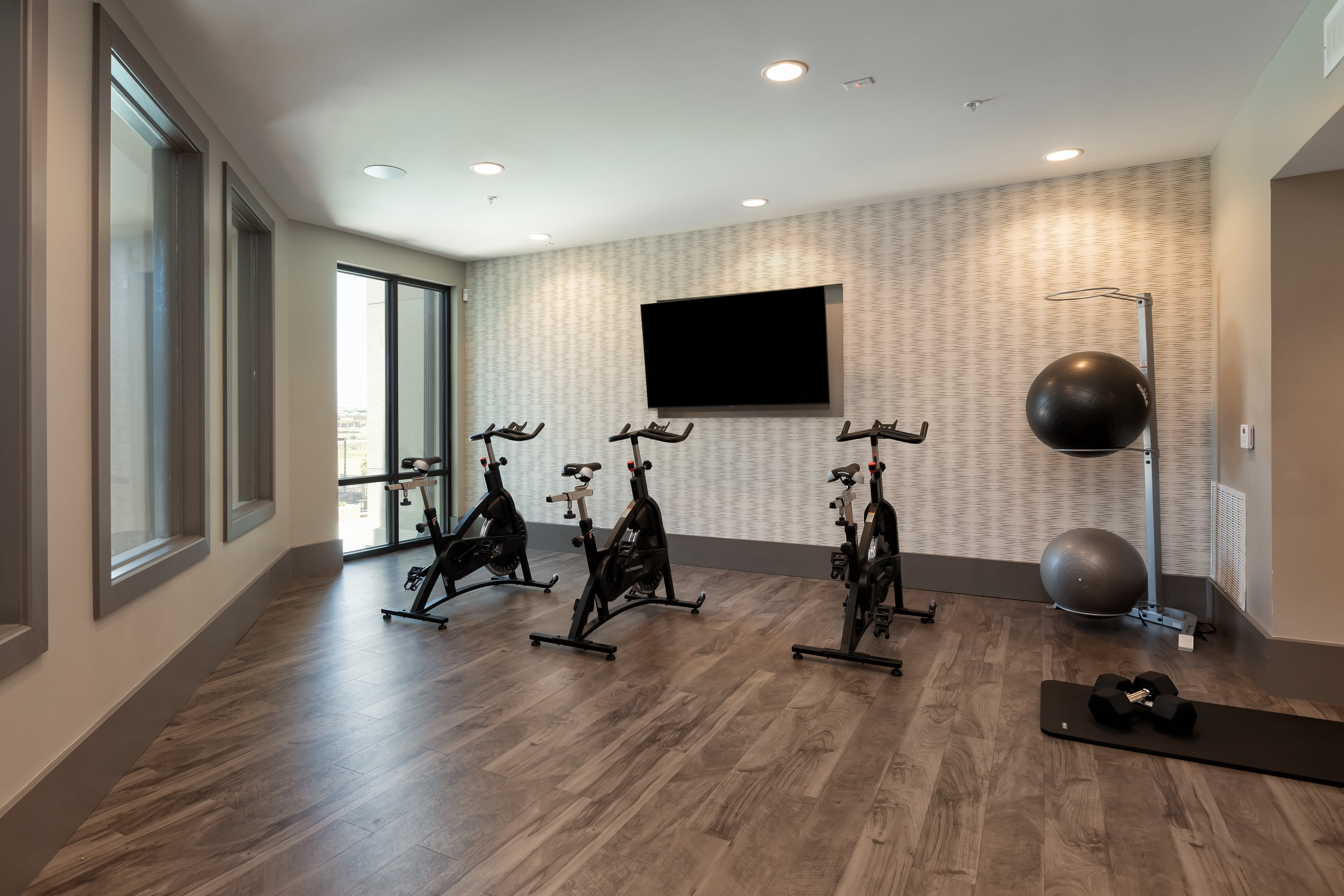 Full fitness area for residents at Domain at Founders Parc in Euless, Texas