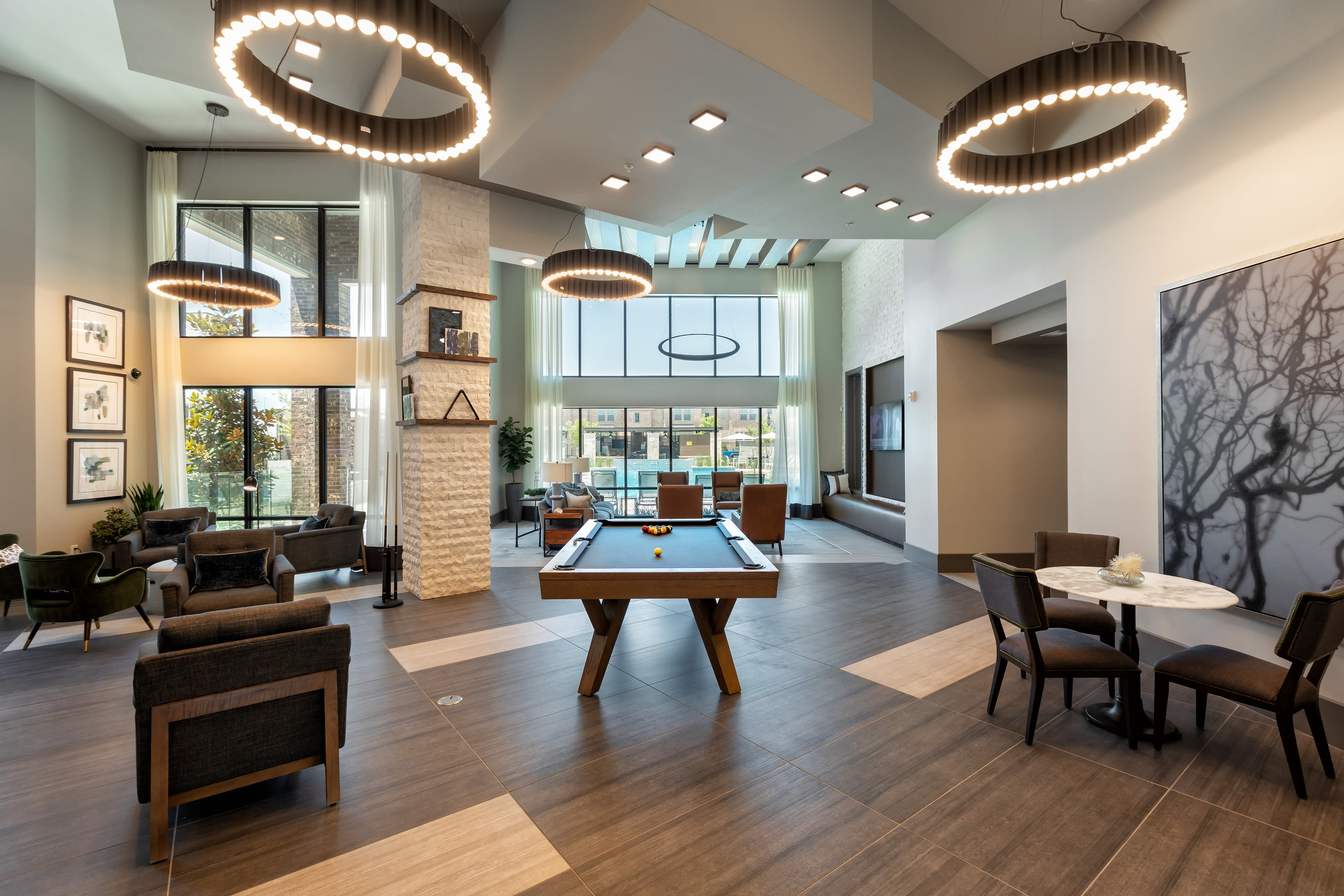 Clubhouse with activities at Domain at Founders Parc in Euless, Texas
