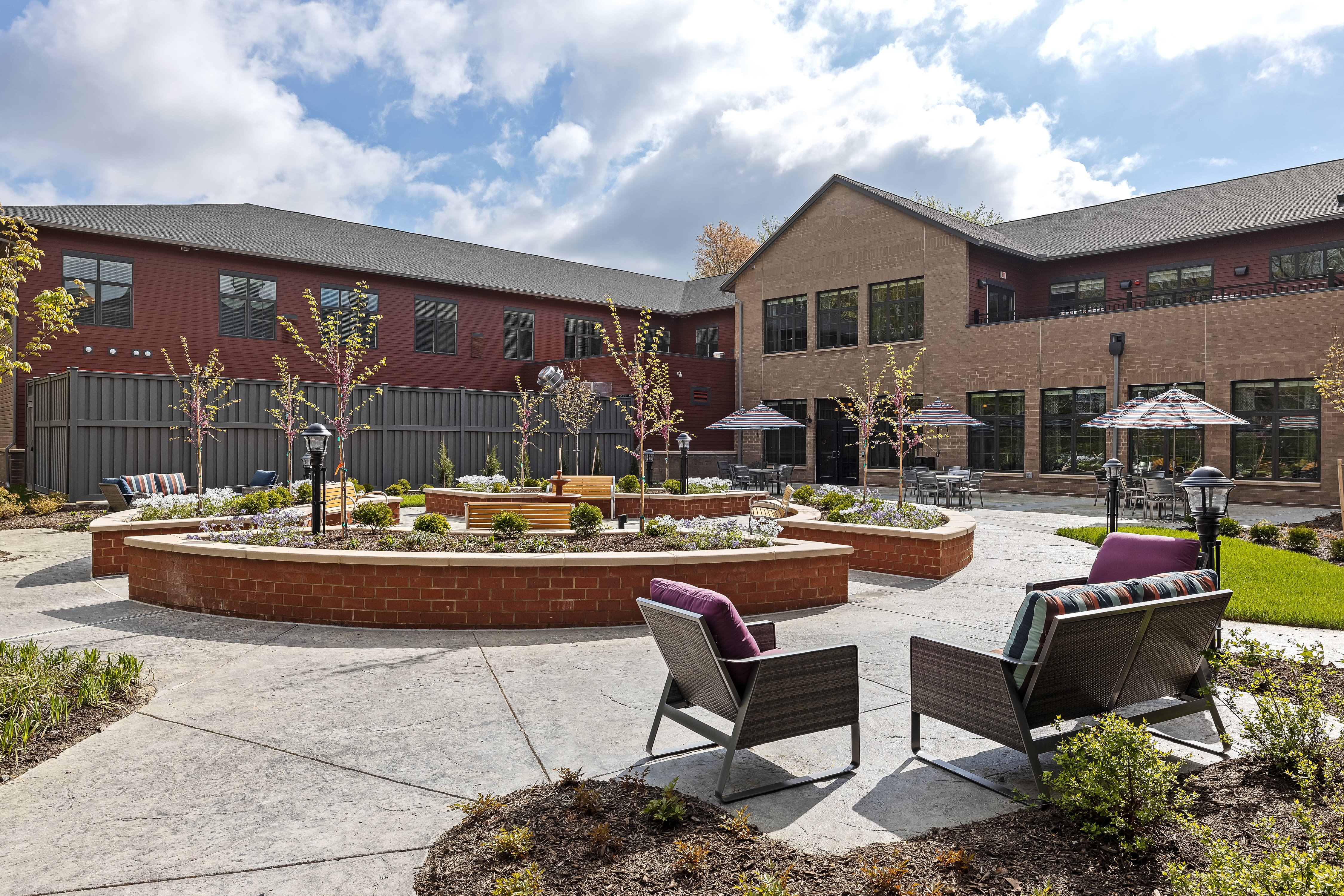 Courtyard with benches at Anthology of Midlothian in North Chesterfield, Virginia.