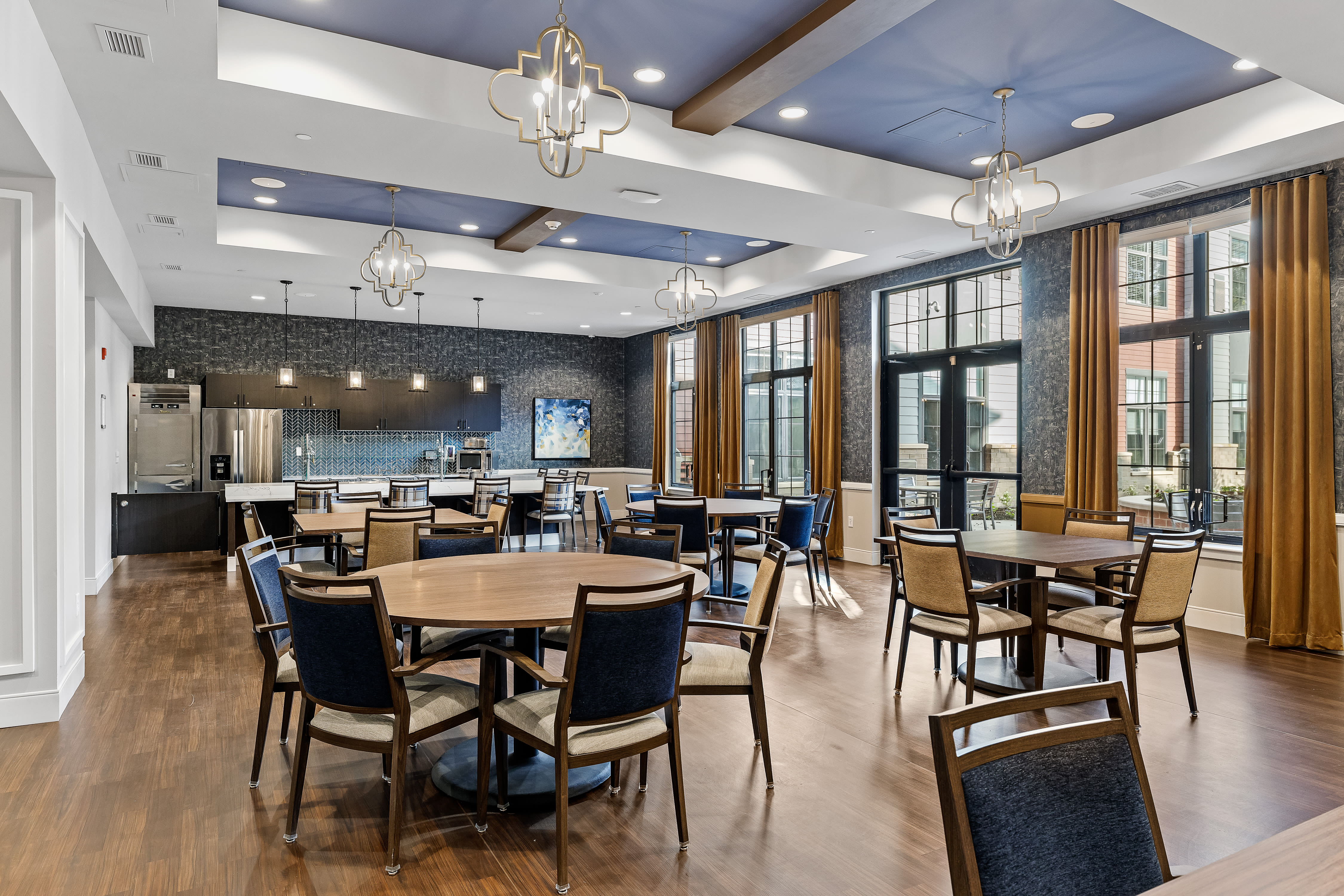 Set tables in the memory care dining room at Anthology of Midlothian in North Chesterfield, Virginia