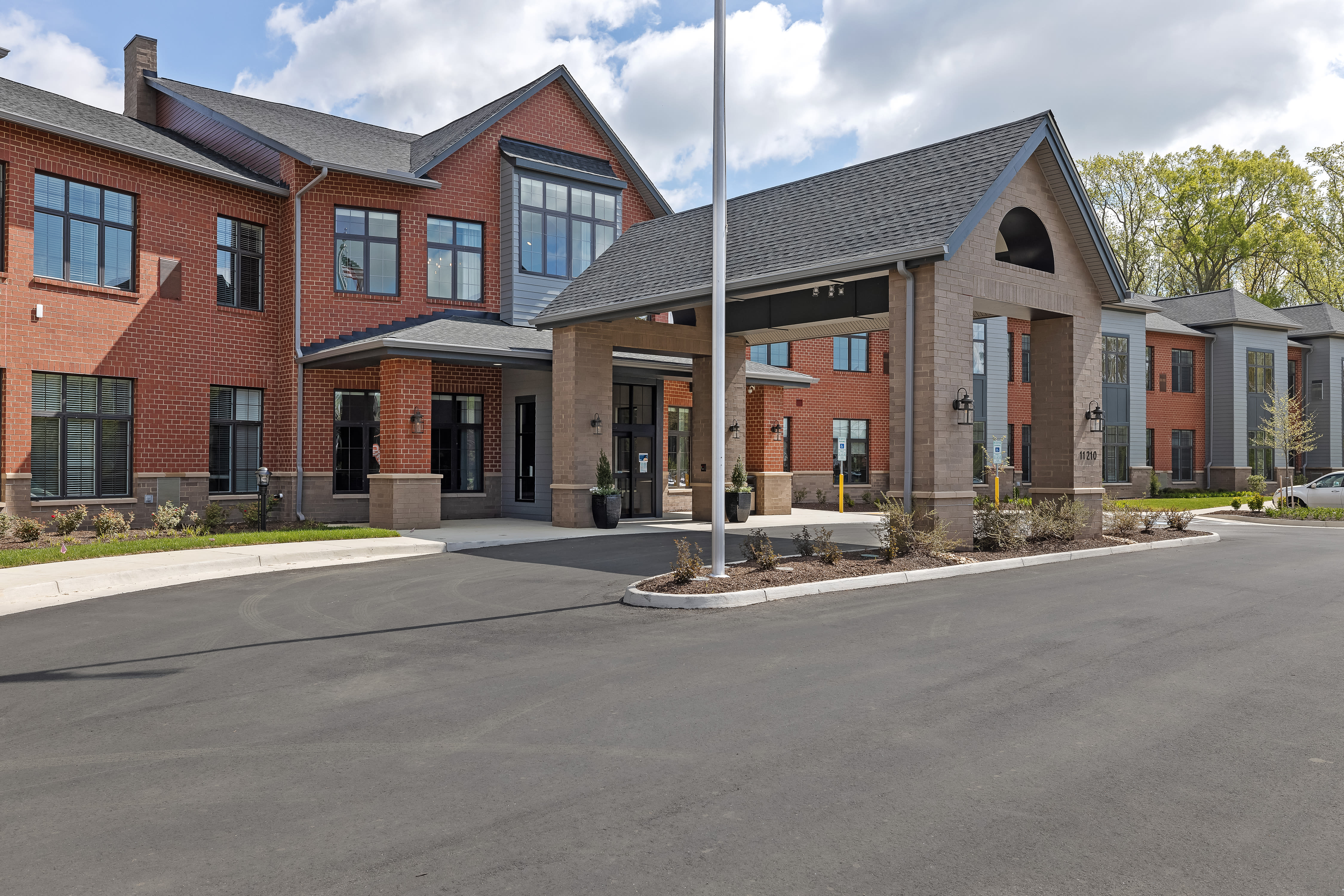 Main entryway and parking lot at Anthology of Midlothian in North Chesterfield, Virginia
