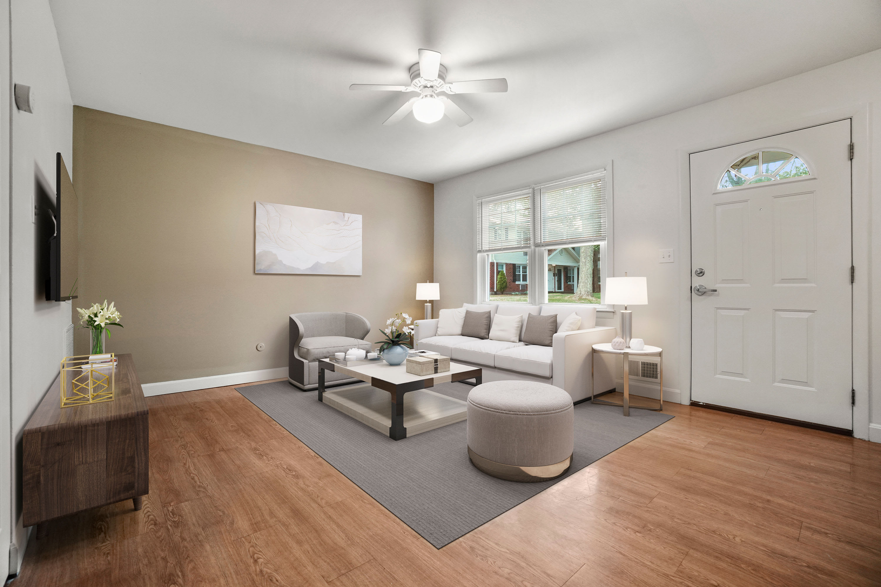Rendered furnished living room at President Village in Fall River, Massachusetts