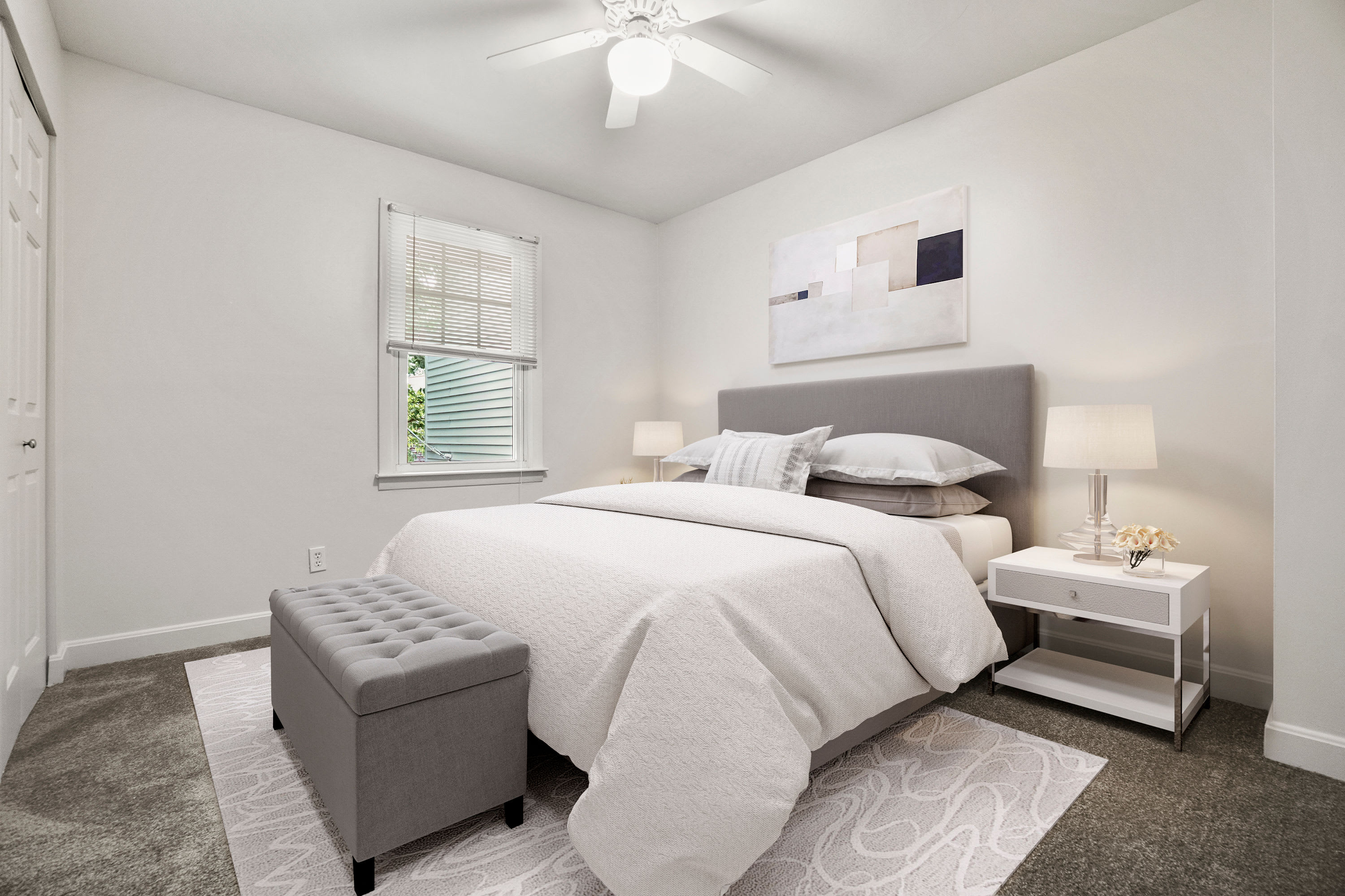 Rendered furnished bedroom at President Village in Fall River, Massachusetts