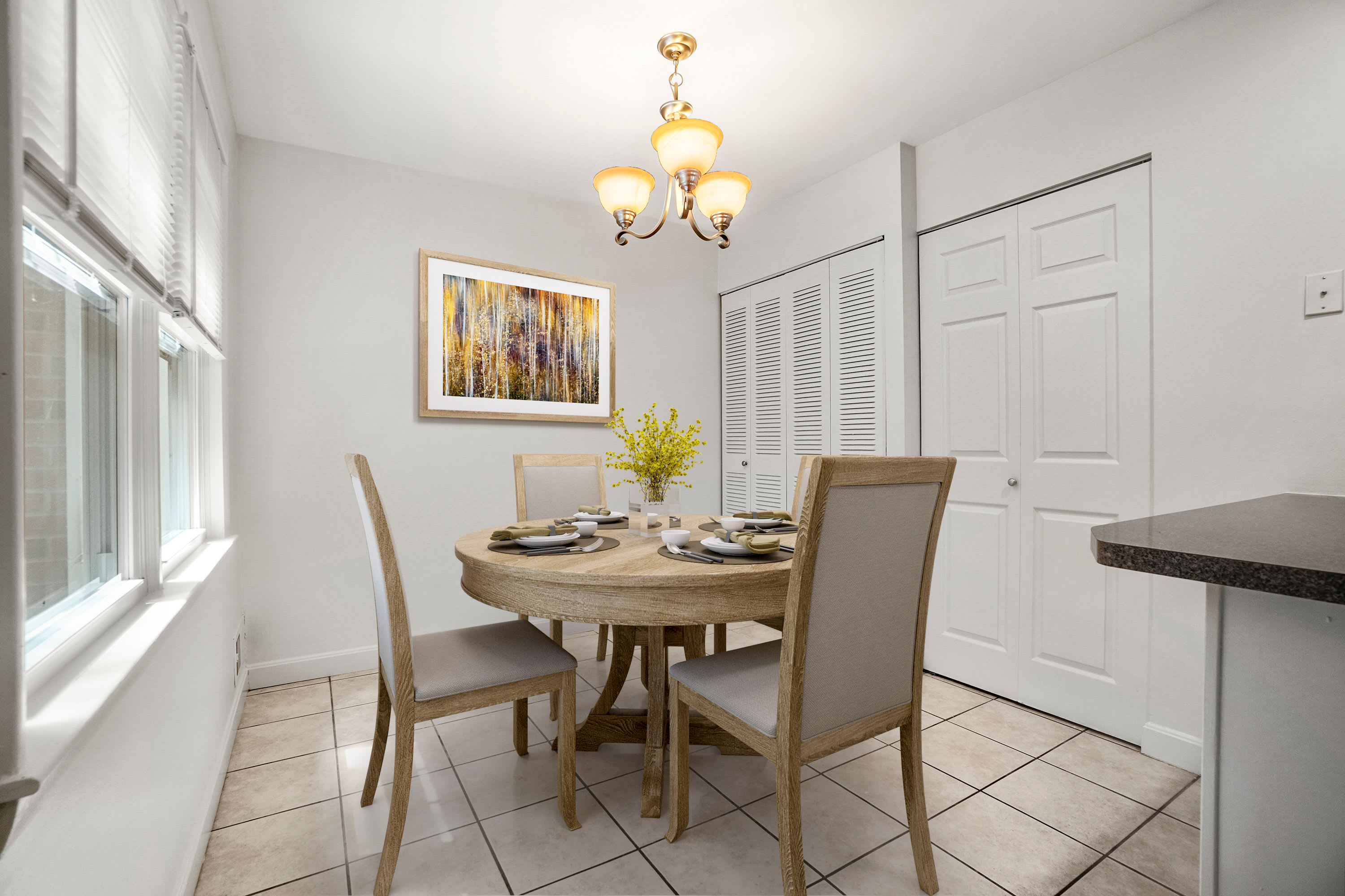 Rendered furnished dining room at President Village in Fall River, Massachusetts