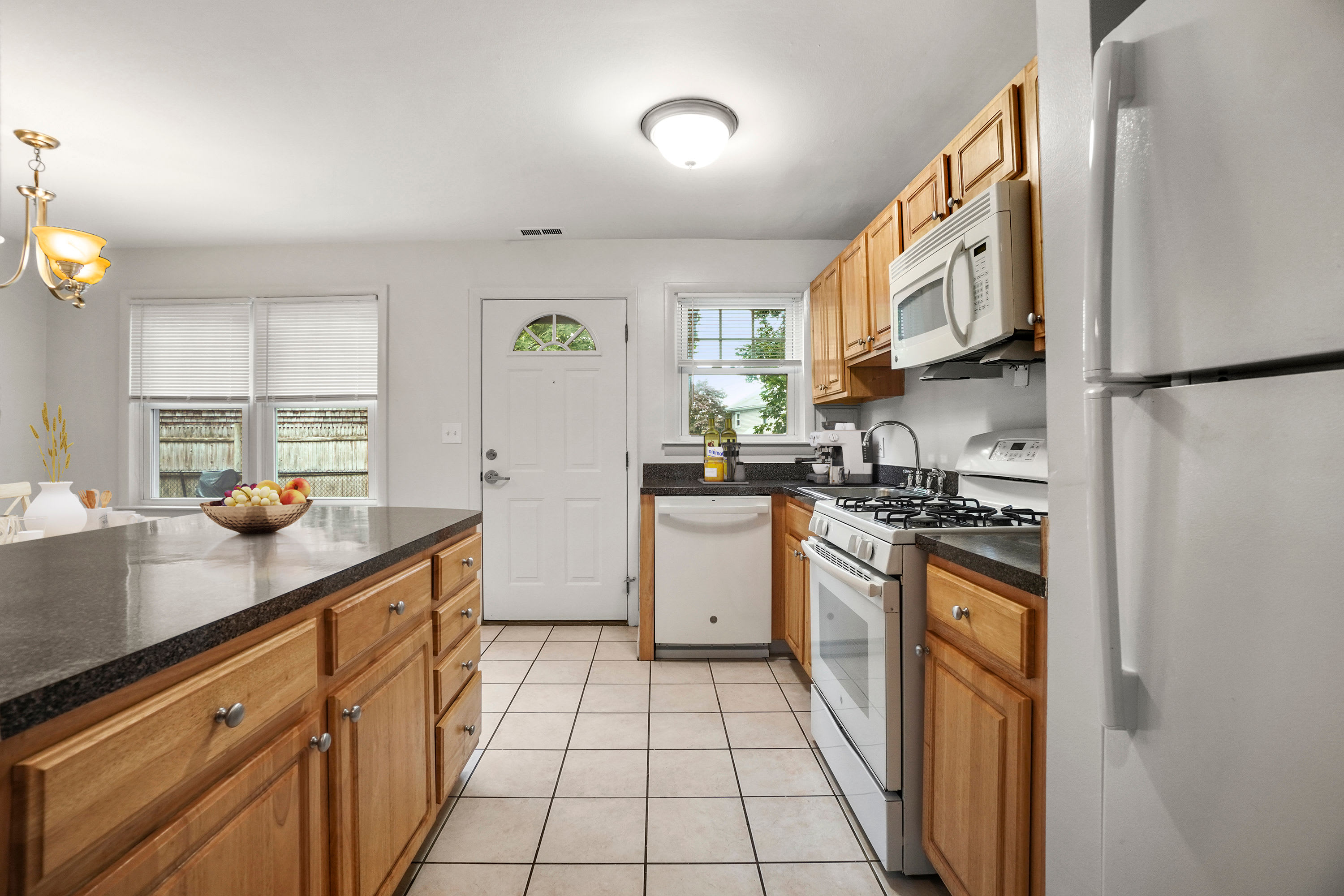Rendered furnished kitchen at President Village in Fall River, Massachusetts