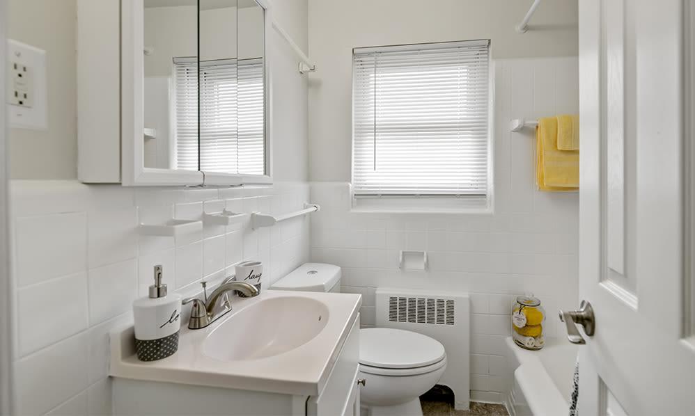 Spacious bathroom at General Greene Village Apartment Homes in Springfield, NJ