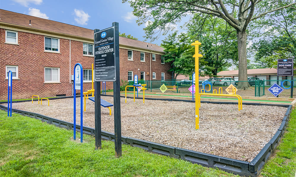 Outdoor fitness stations at General Greene Village Apartment Homes in Springfield, NJ