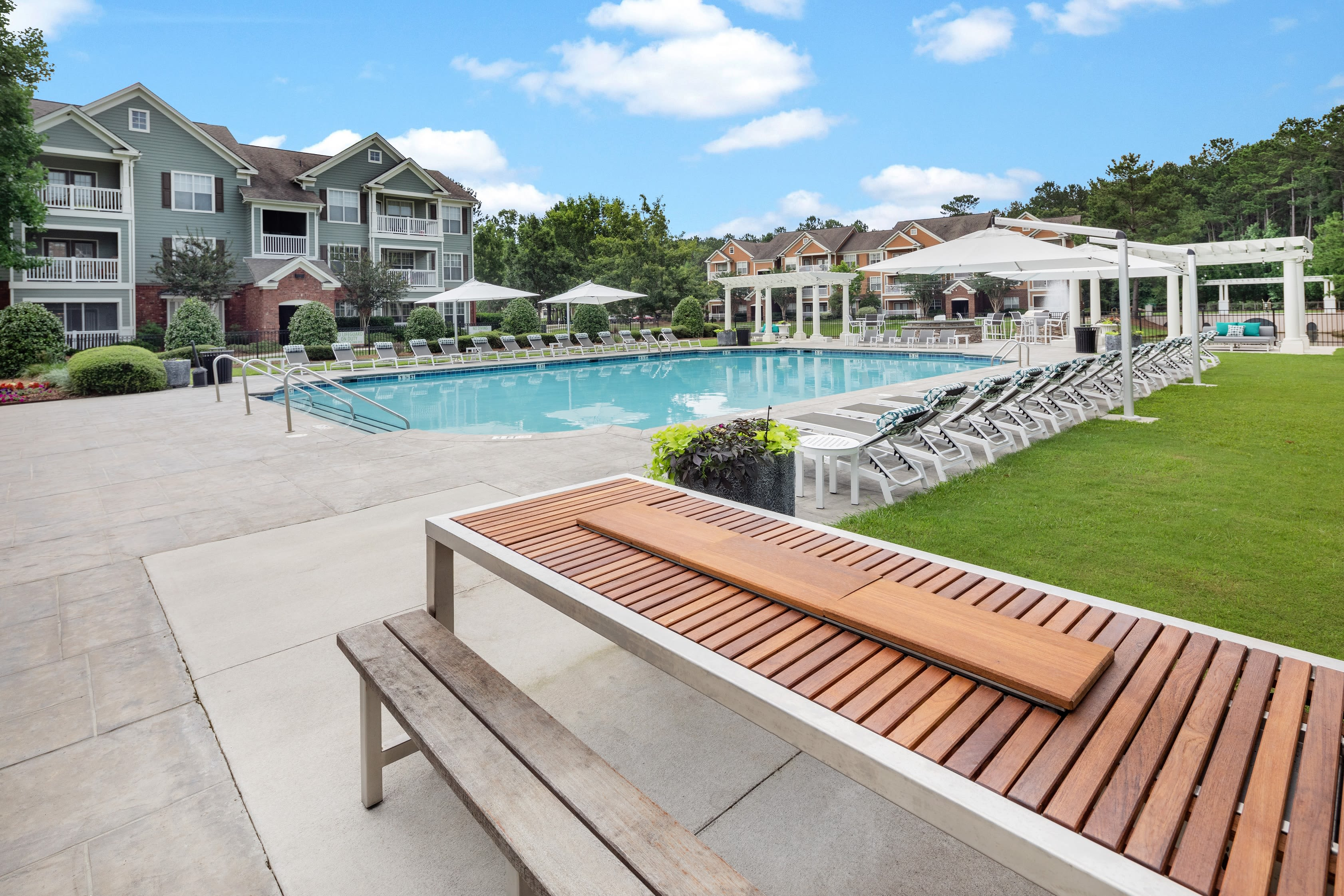 Pool area at Bryant at Summerville's leasing office in Summerville, South Carolina