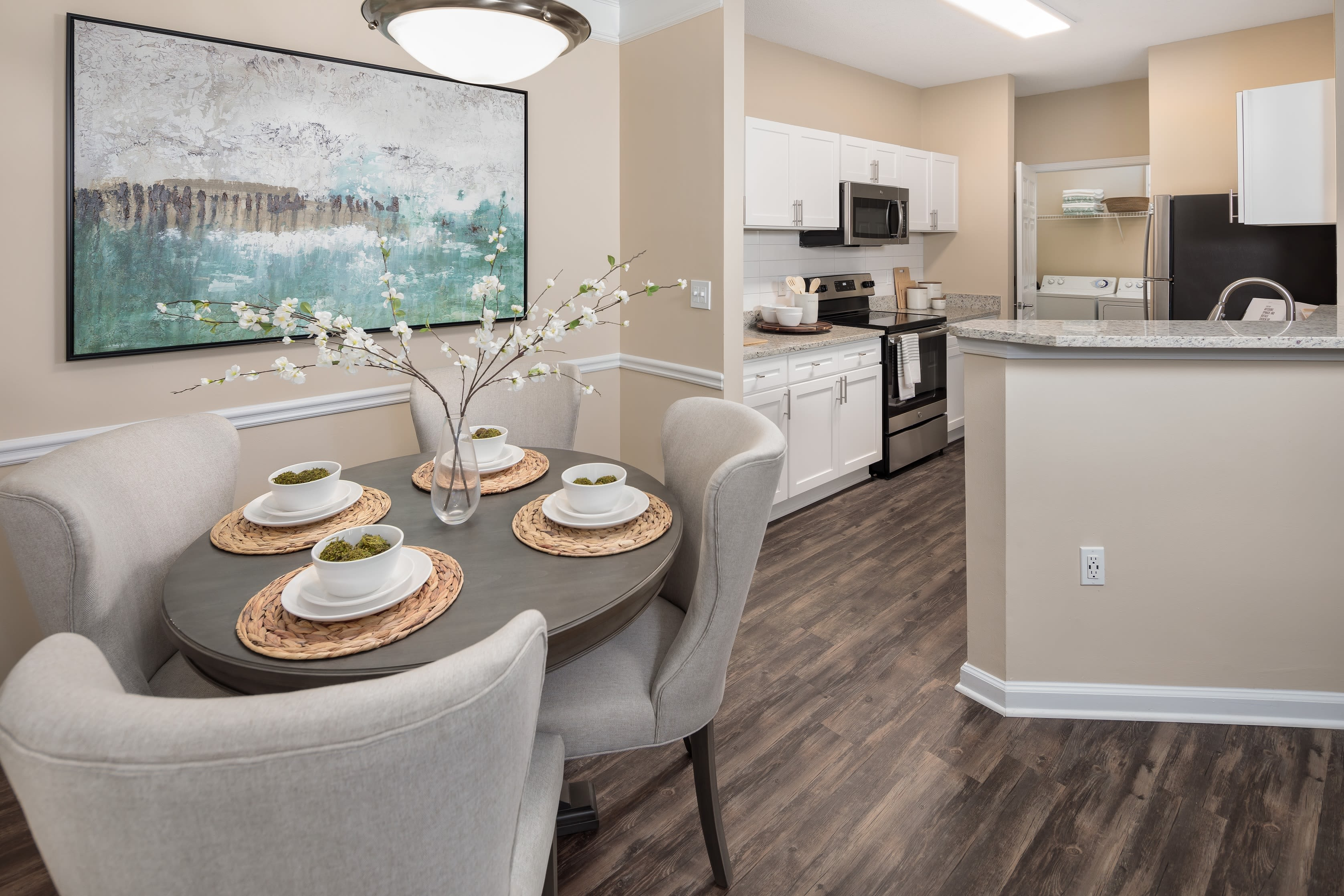 Dining area in a model apartment at Bryant at Summerville in Summerville, South Carolina