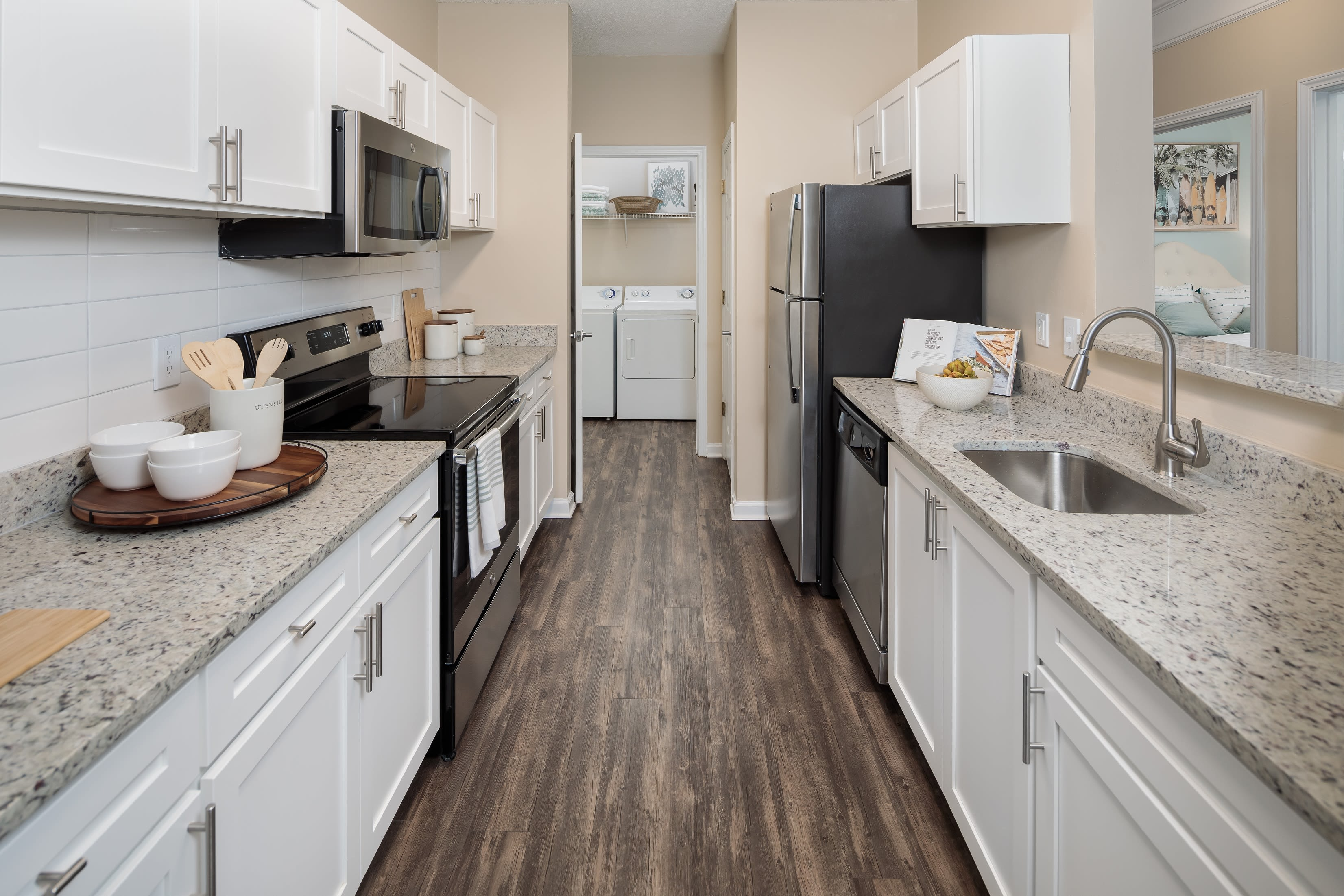 Updated kitchen in an apartment at Bryant at Summerville in Summerville, South Carolina