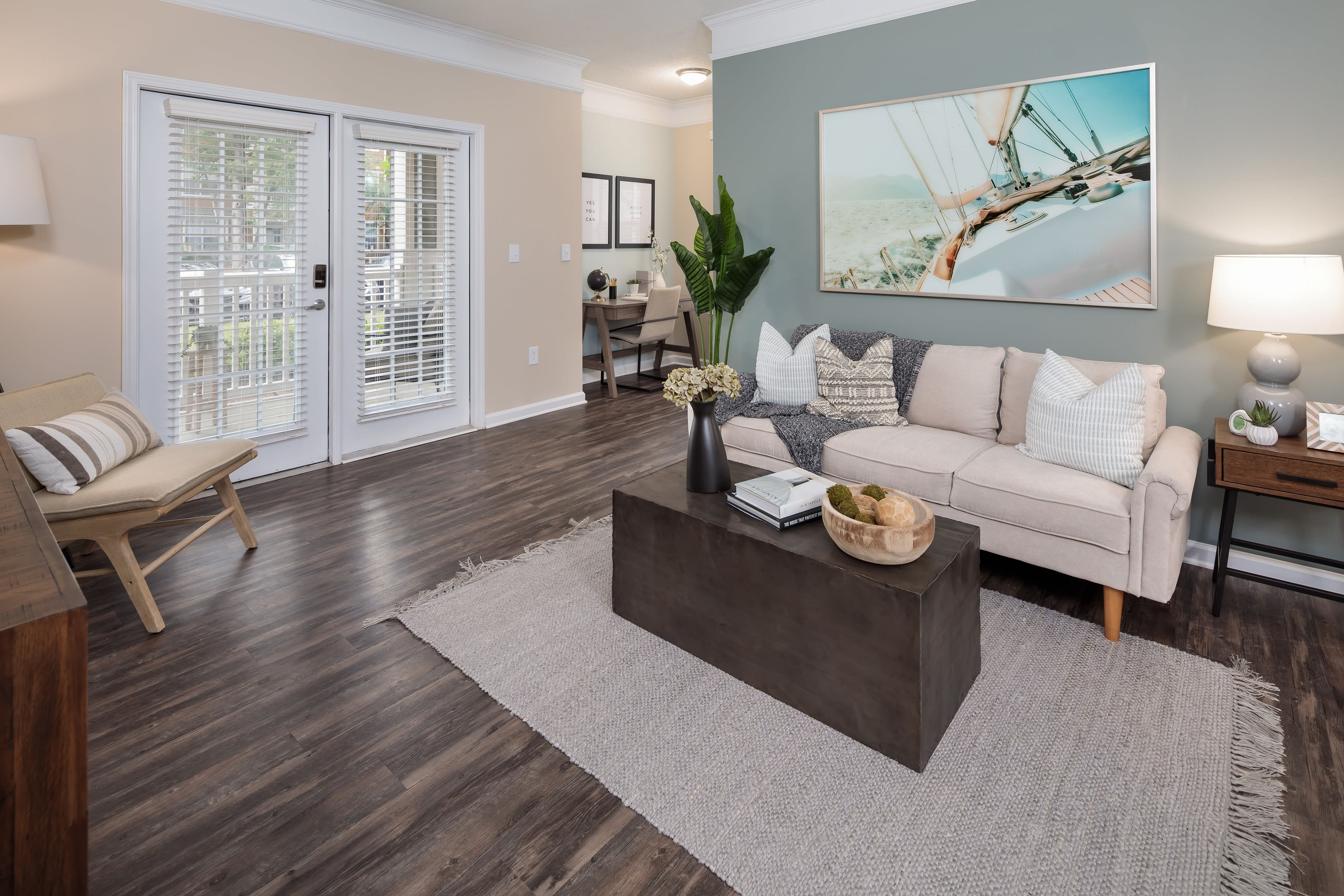 A furnished living room in an apartment at Bryant at Summerville at Bryant at Summerville in Summerville, South Carolina