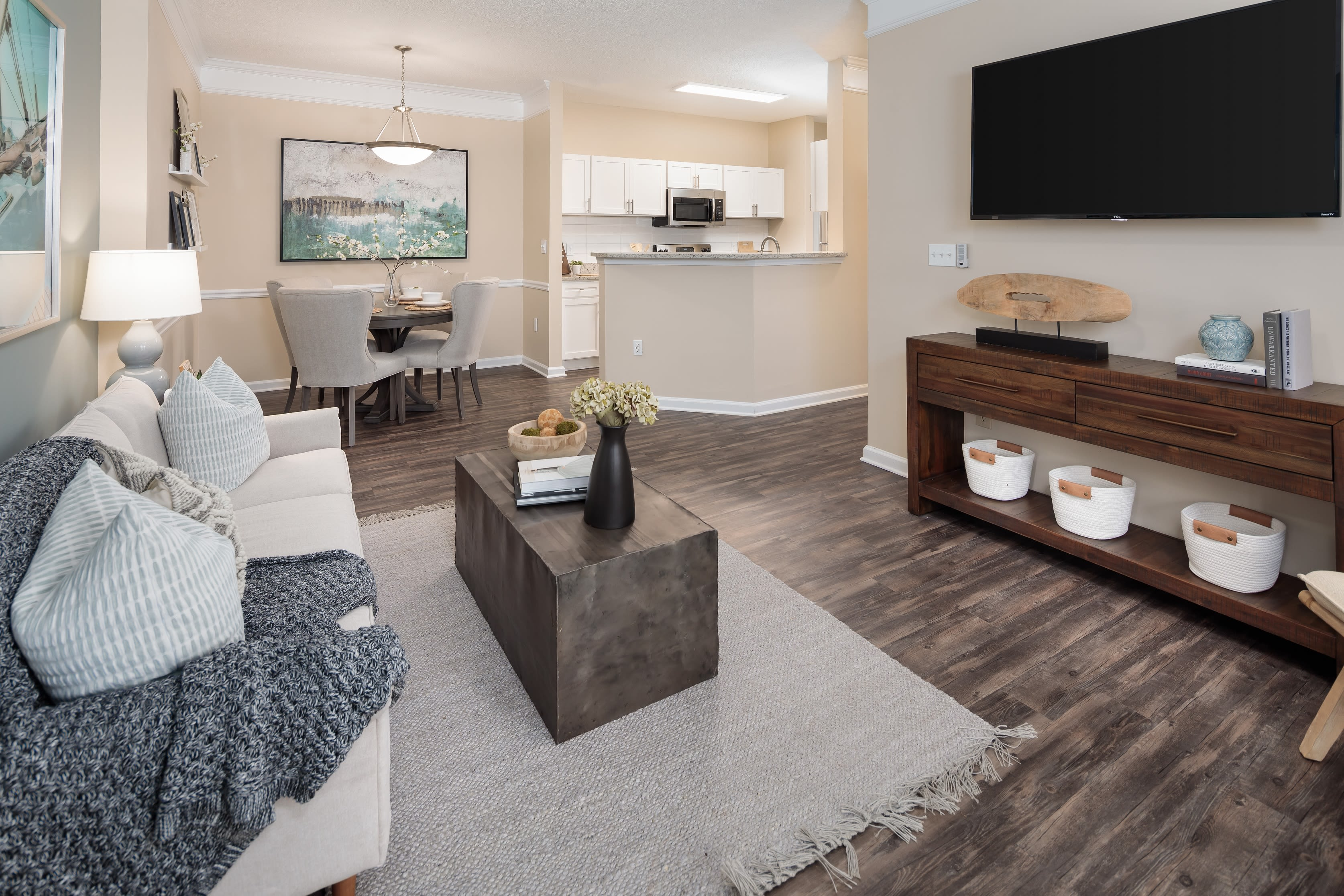 A furnished living room in a model apartment at Bryant at Summerville at Bryant at Summerville in Summerville, South Carolina