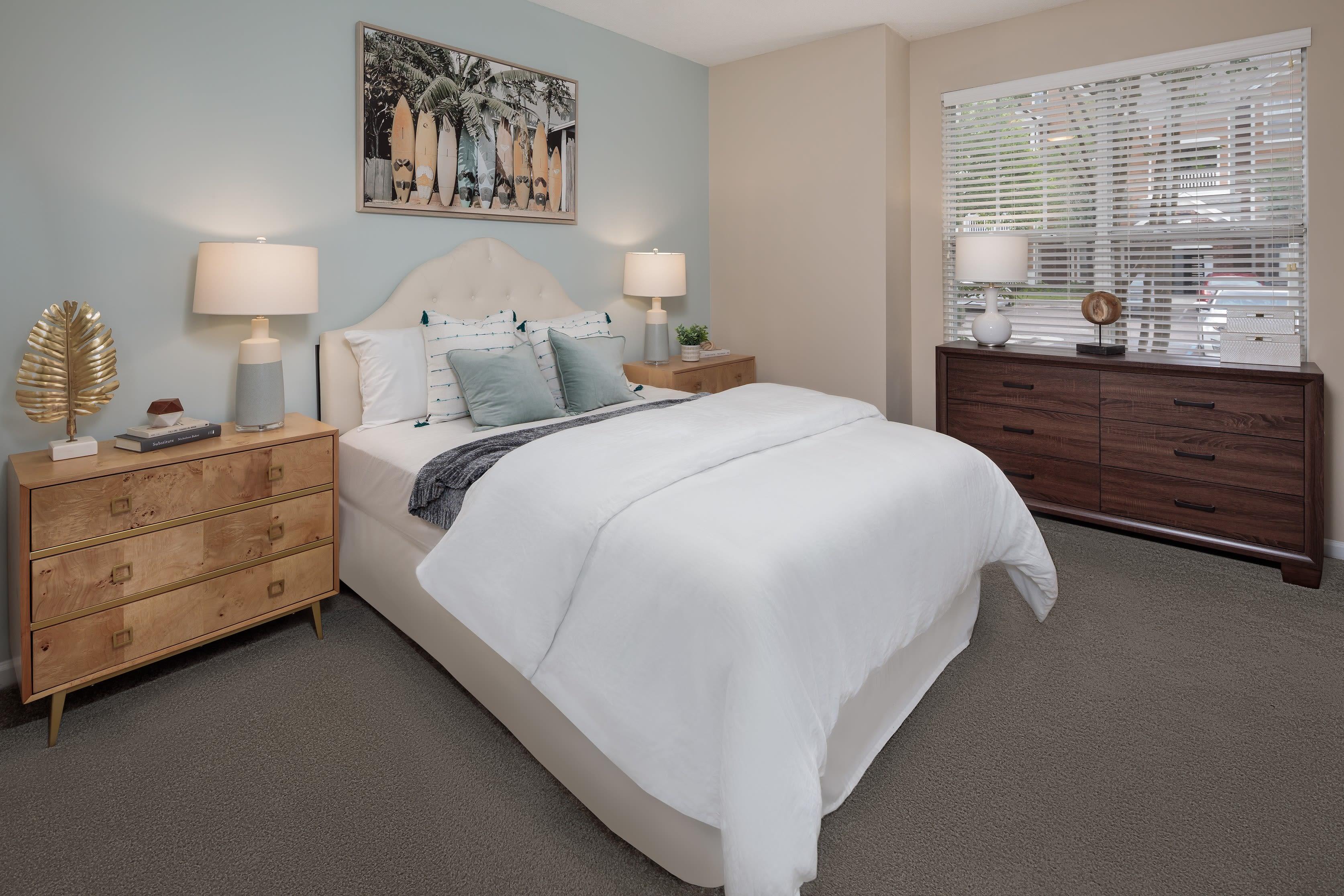 A furnished bedroom at Bryant at Summerville at Bryant at Summerville in Summerville, South Carolina